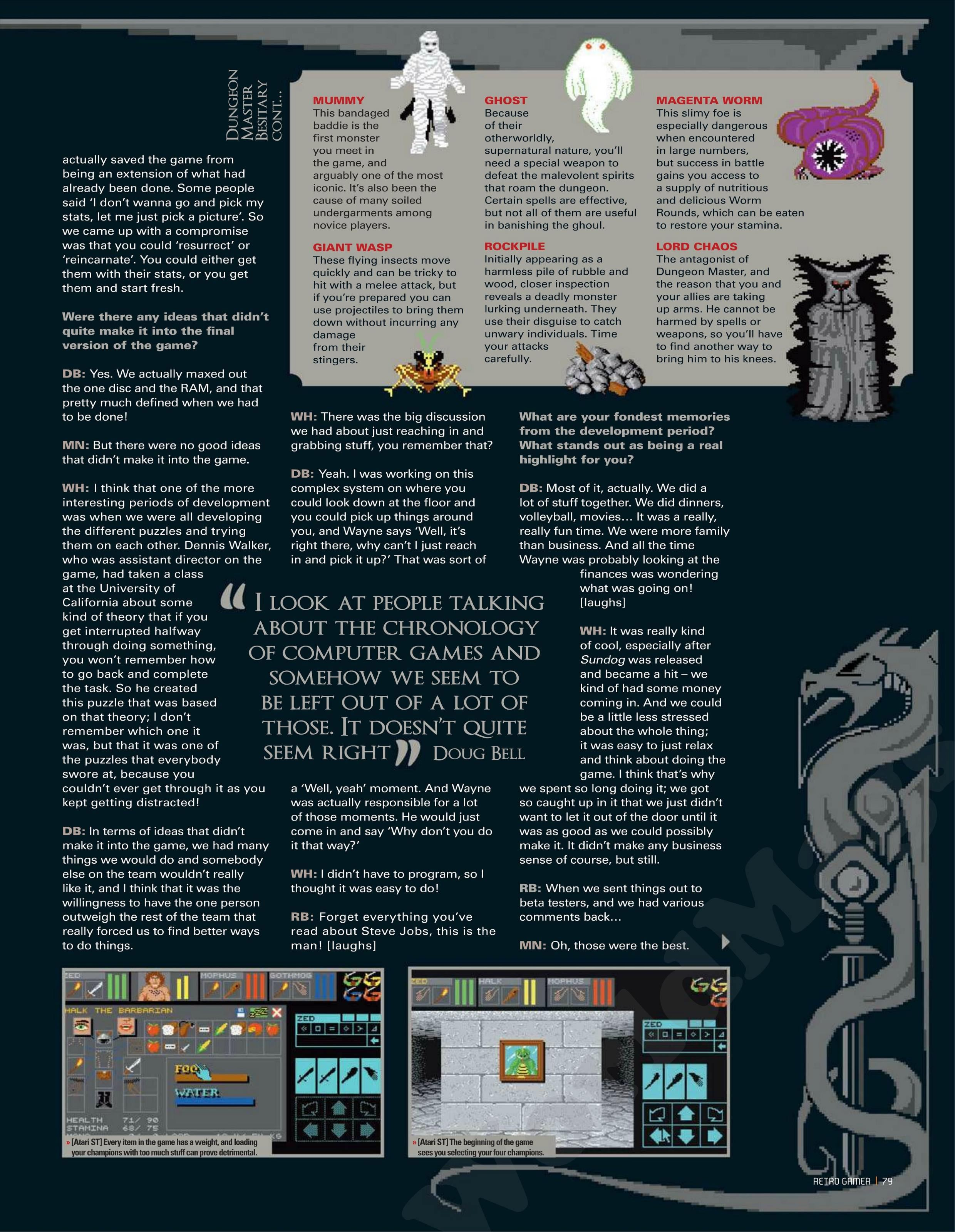 Dungeon Master Game Series Article published in British magazine 'Retro Gamer', Issue #105 July 2012, Page 79
