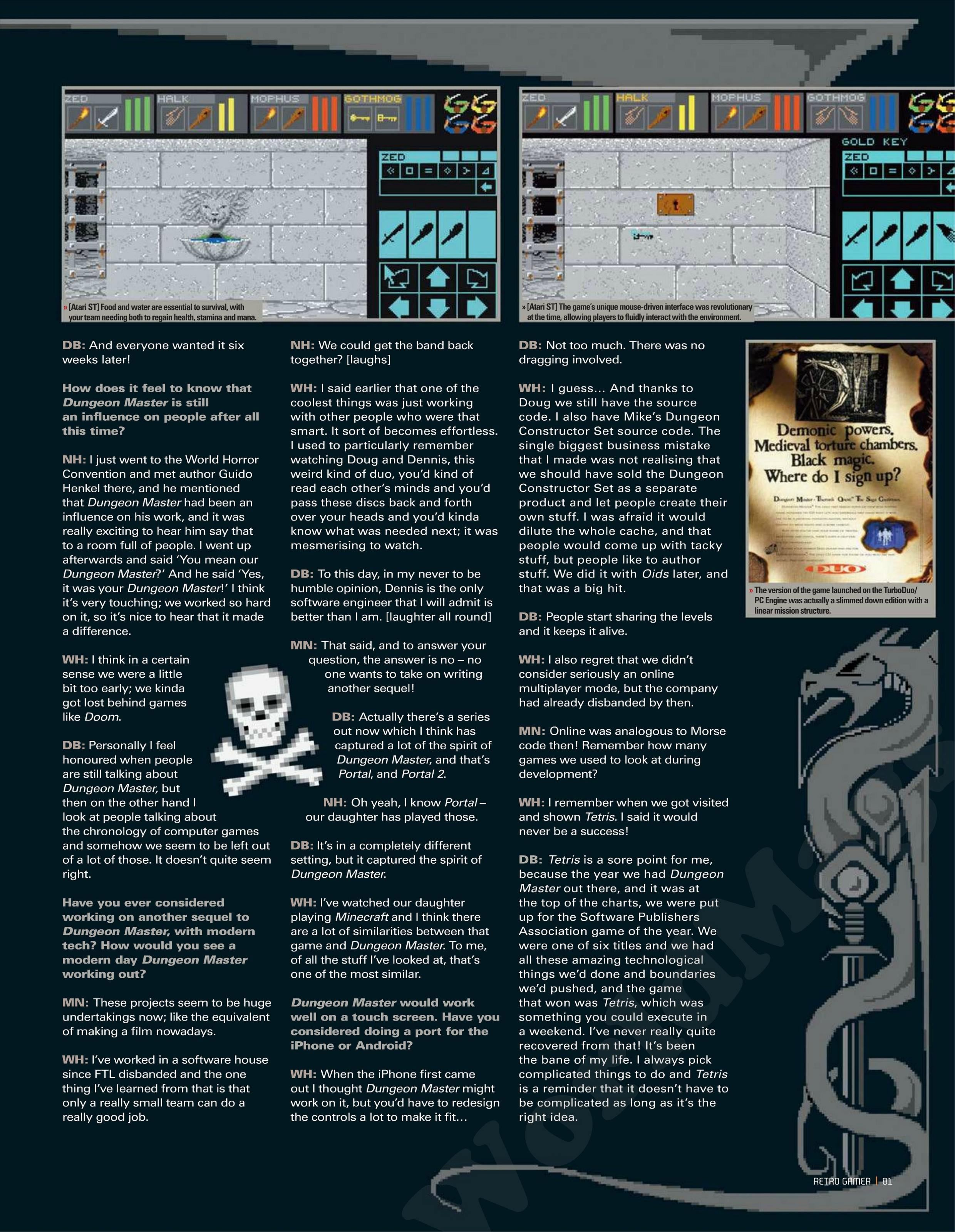 Dungeon Master Game Series Article published in British magazine 'Retro Gamer', Issue #105 July 2012, Page 81