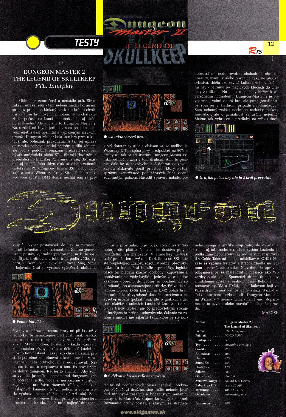 Dungeon Master II for PC Review published in Czech magazine 'Riki', Issue #13 October 1995, Page 12
