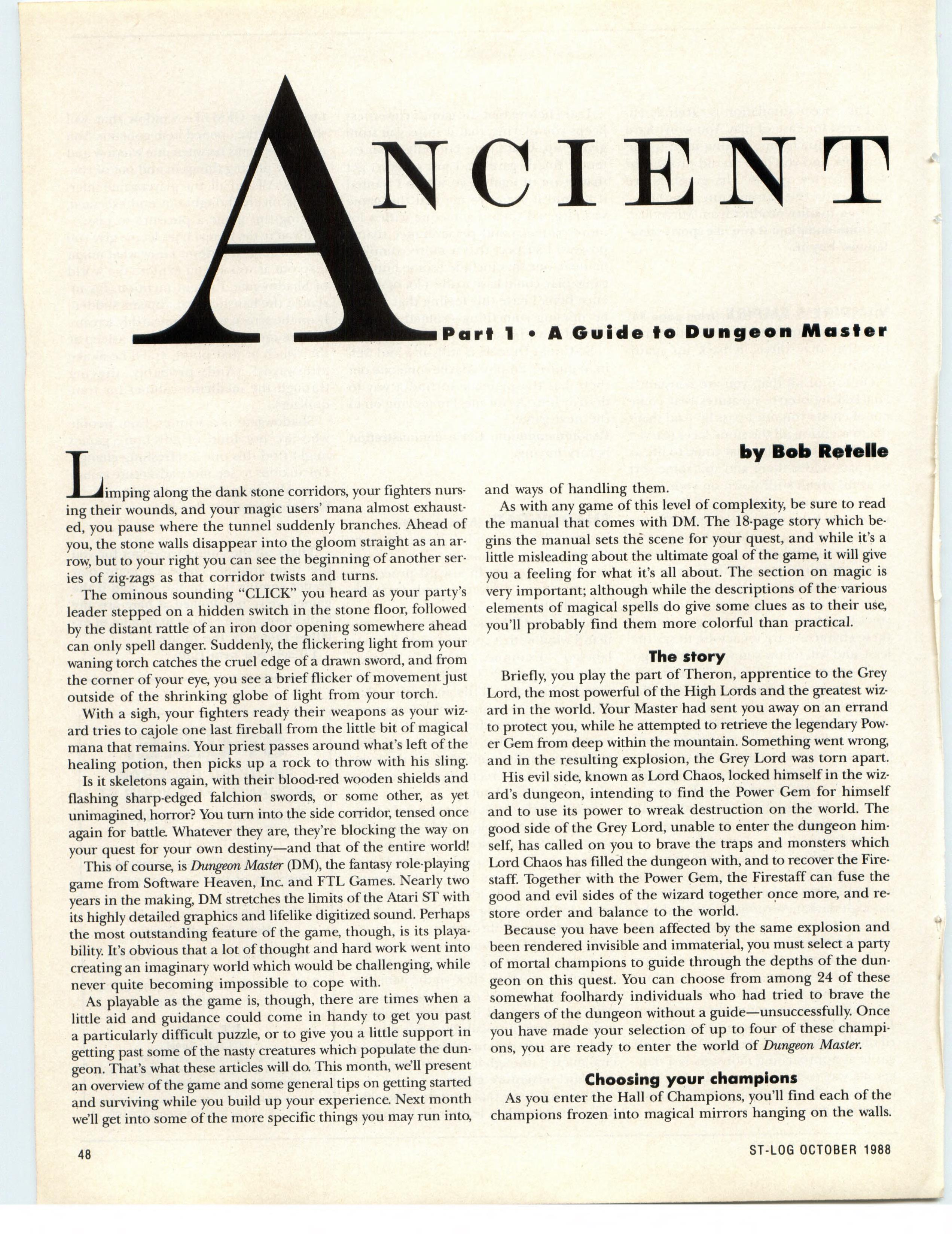 Dungeon Master for Atari ST Guide published in American magazine 'ST-Log', Issue #24 October 1988, Page 48