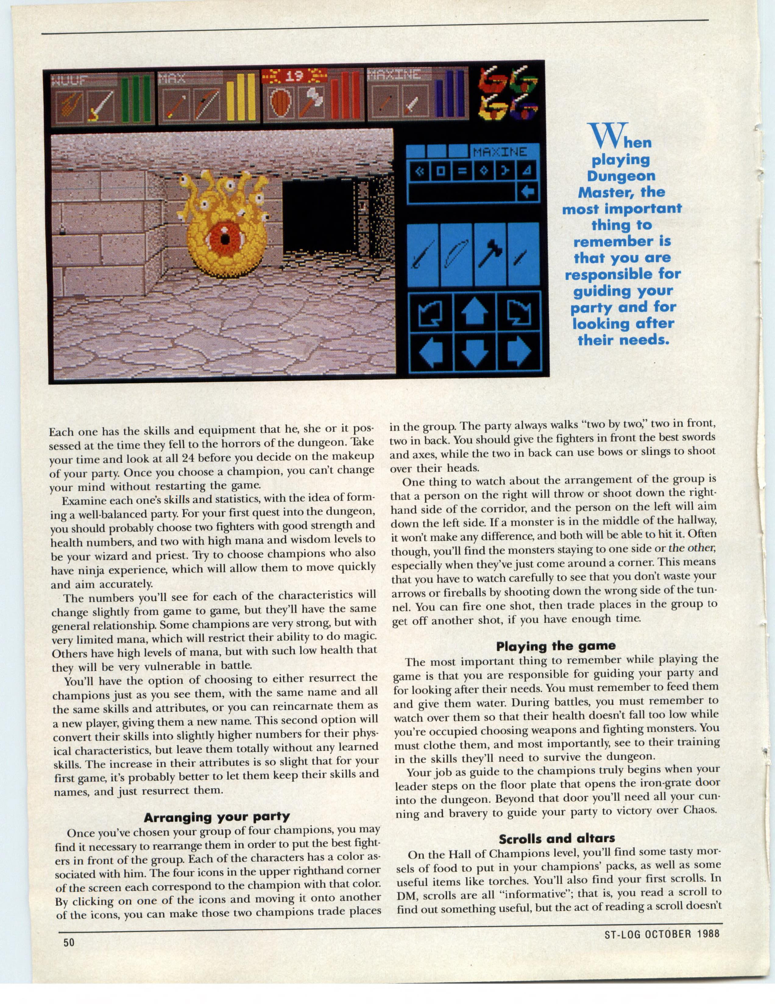 Dungeon Master for Atari ST Guide published in American magazine 'ST-Log', Issue #24 October 1988, Page 50