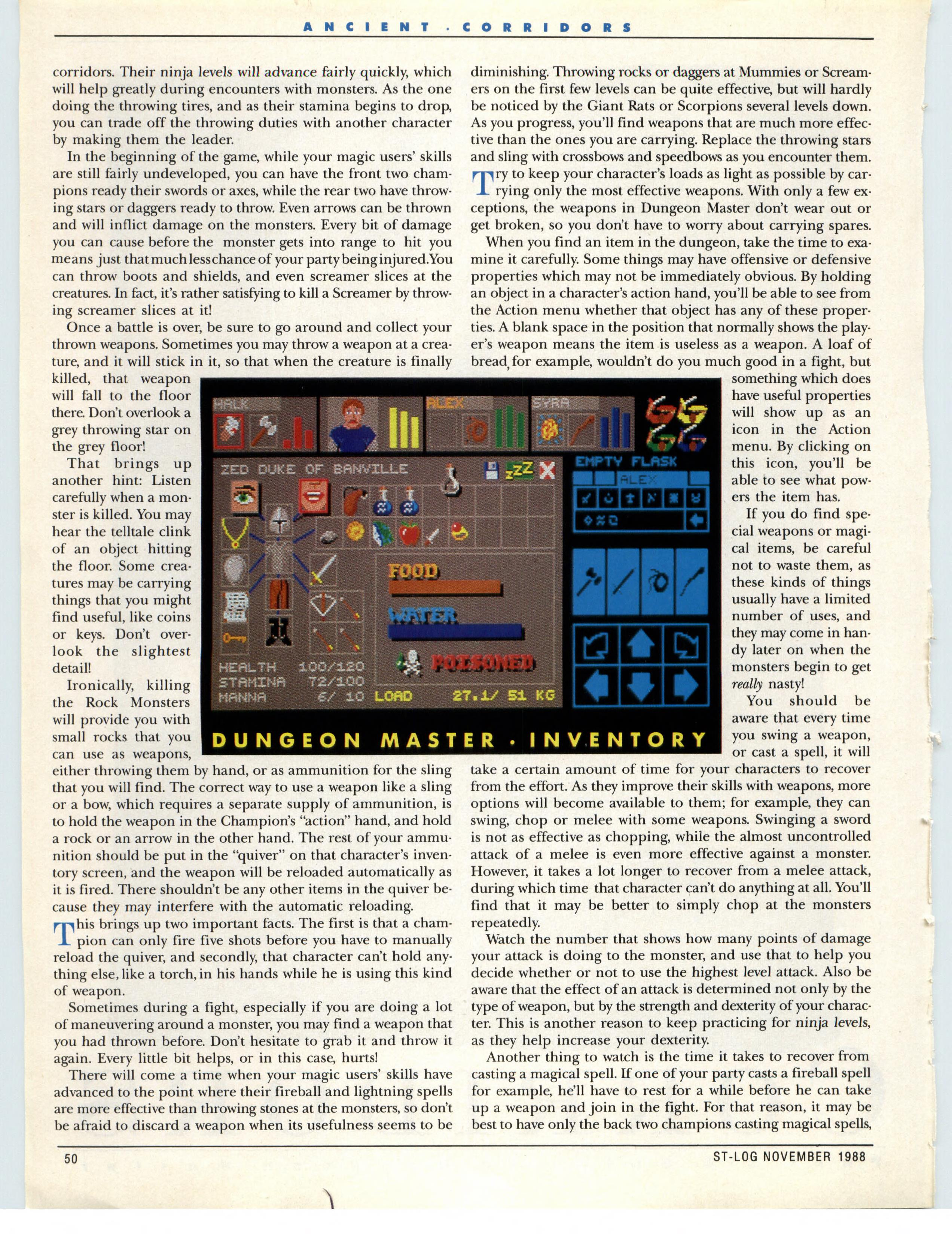 Dungeon Master for Atari ST Guide published in American magazine 'ST-Log', Issue #25 November 1988, Page 50