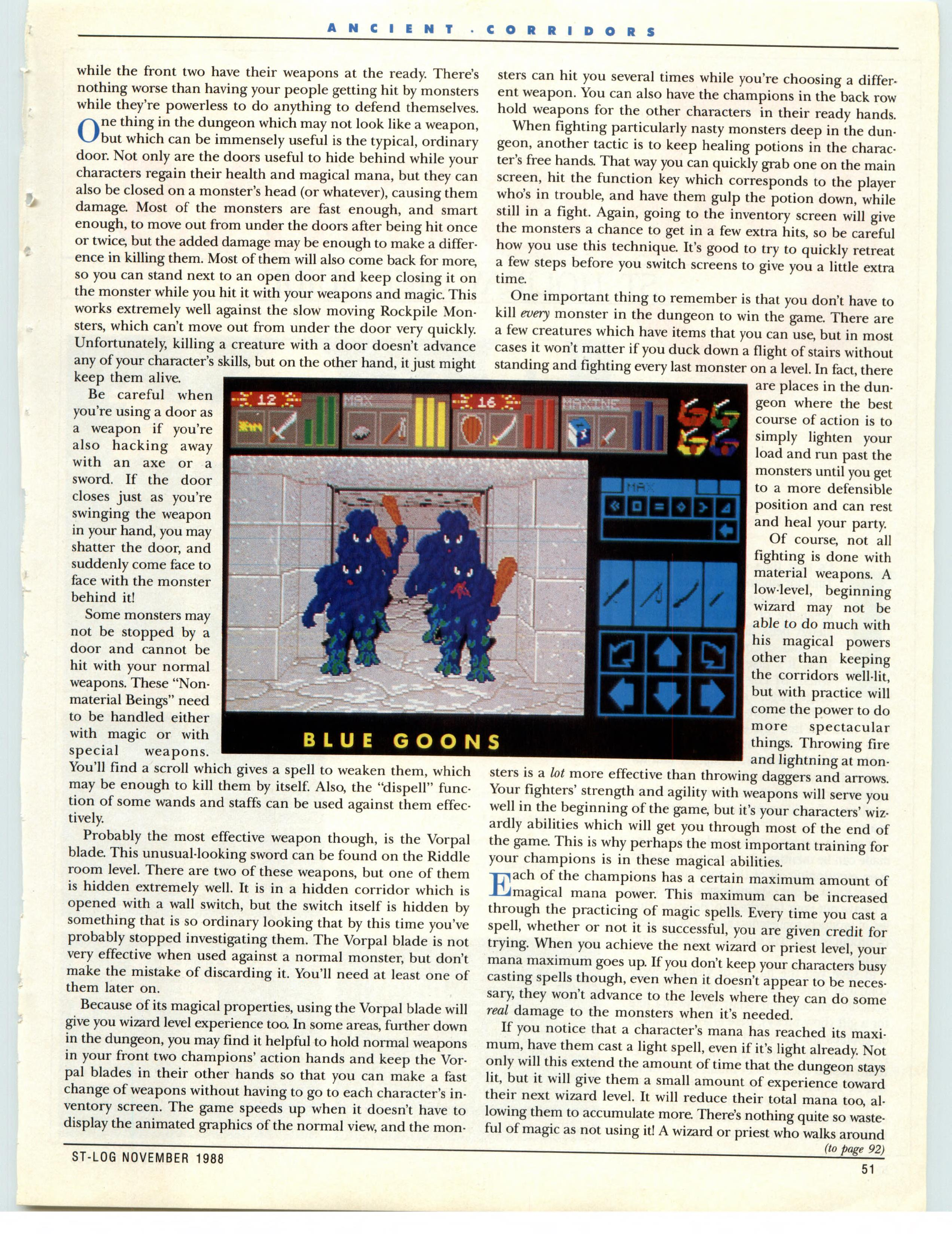 Dungeon Master for Atari ST Guide published in American magazine 'ST-Log', Issue #25 November 1988, Page 51