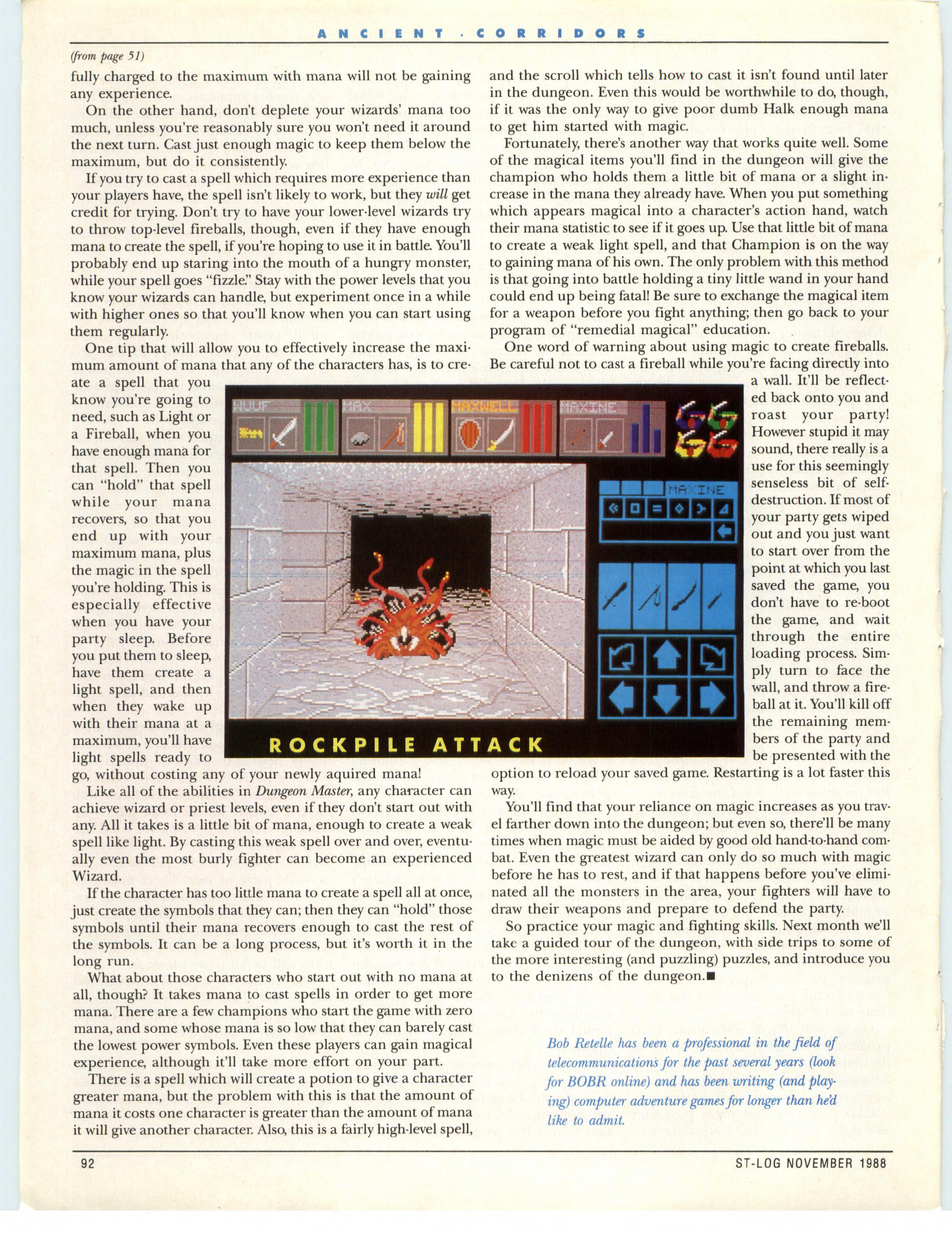Dungeon Master for Atari ST Guide published in American magazine 'ST-Log', Issue #25 November 1988, Page 92