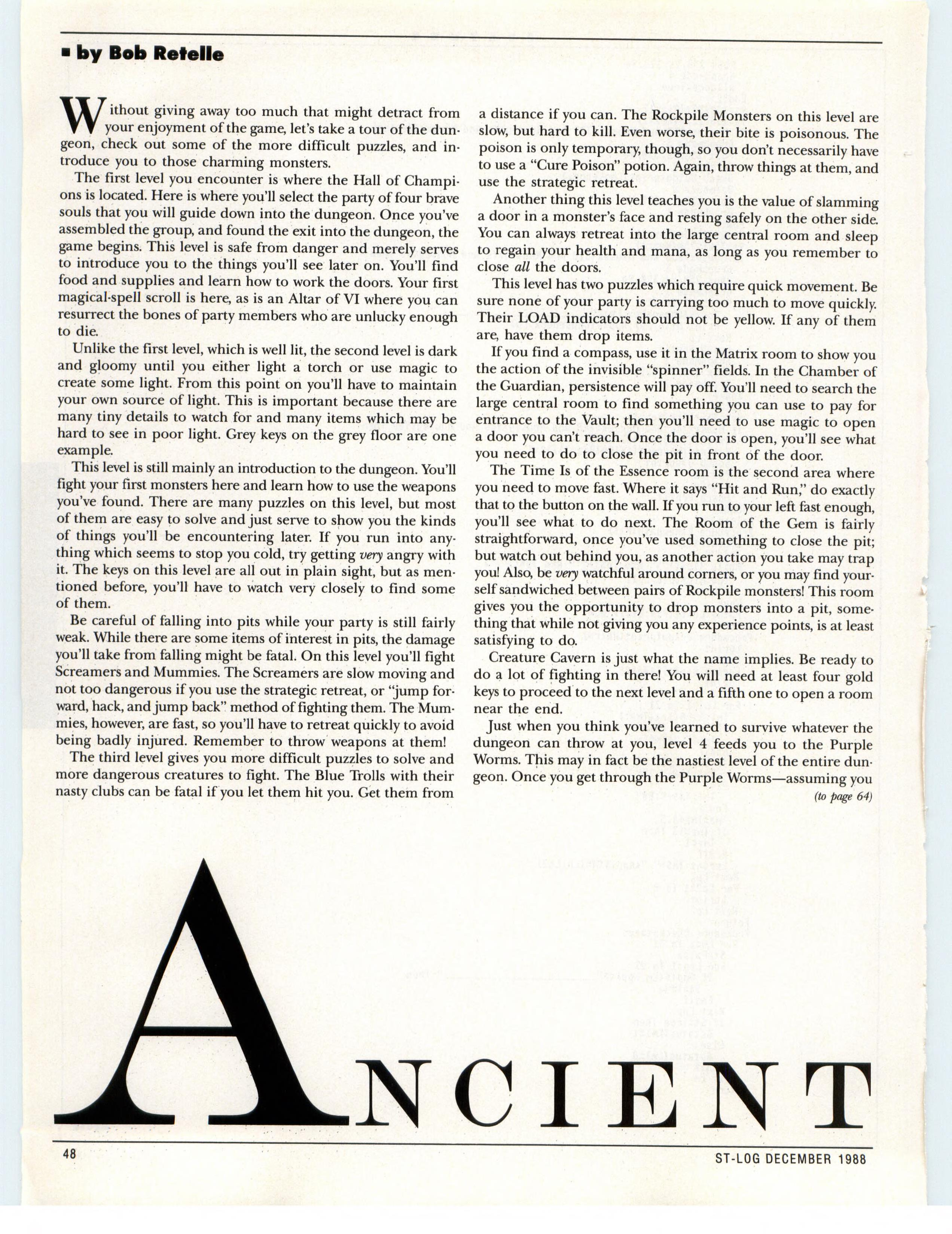 Dungeon Master for Atari ST Guide published in American magazine 'ST-Log', Issue #26 December 1988, Page 48