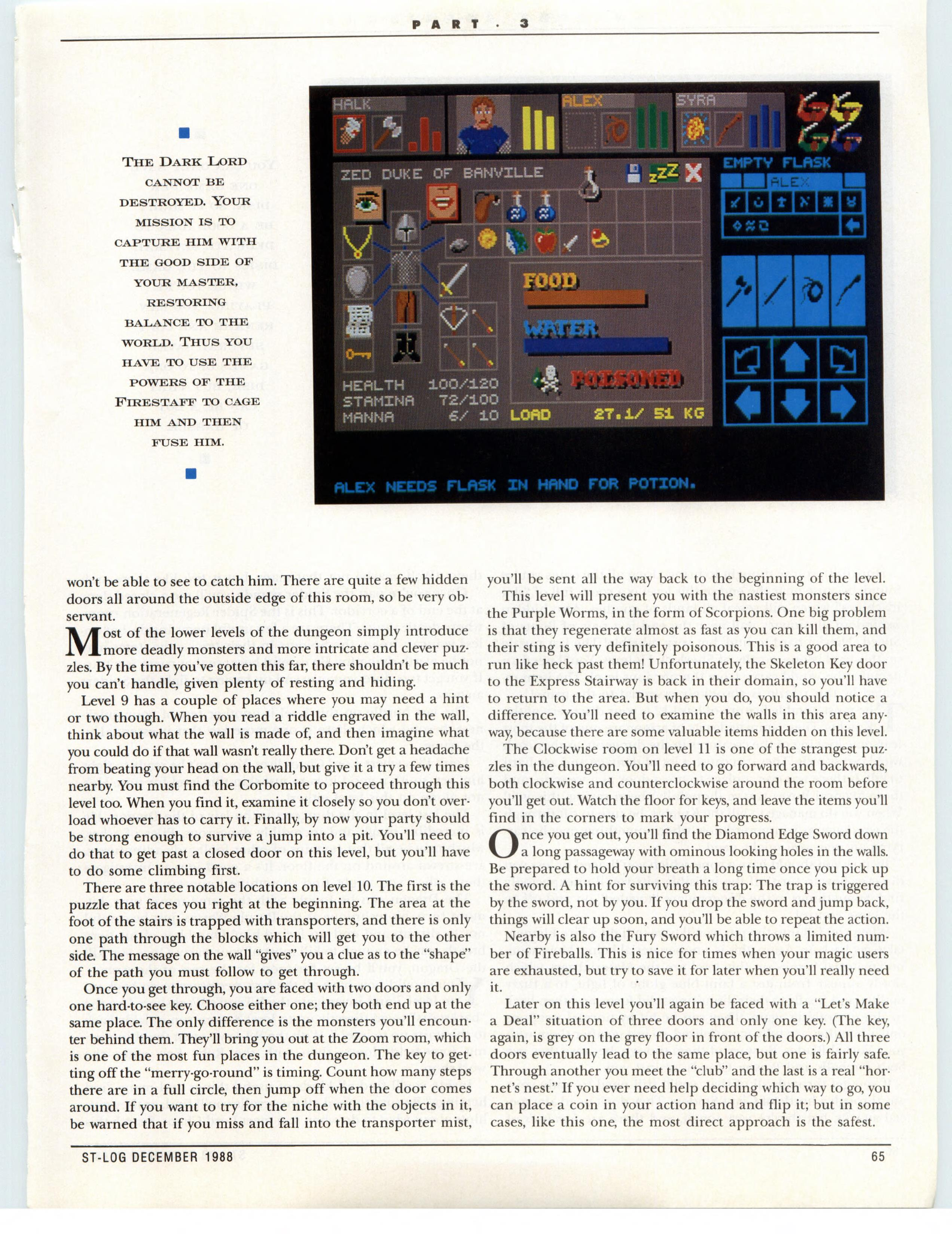 Dungeon Master for Atari ST Guide published in American magazine 'ST-Log', Issue #26 December 1988, Page 65