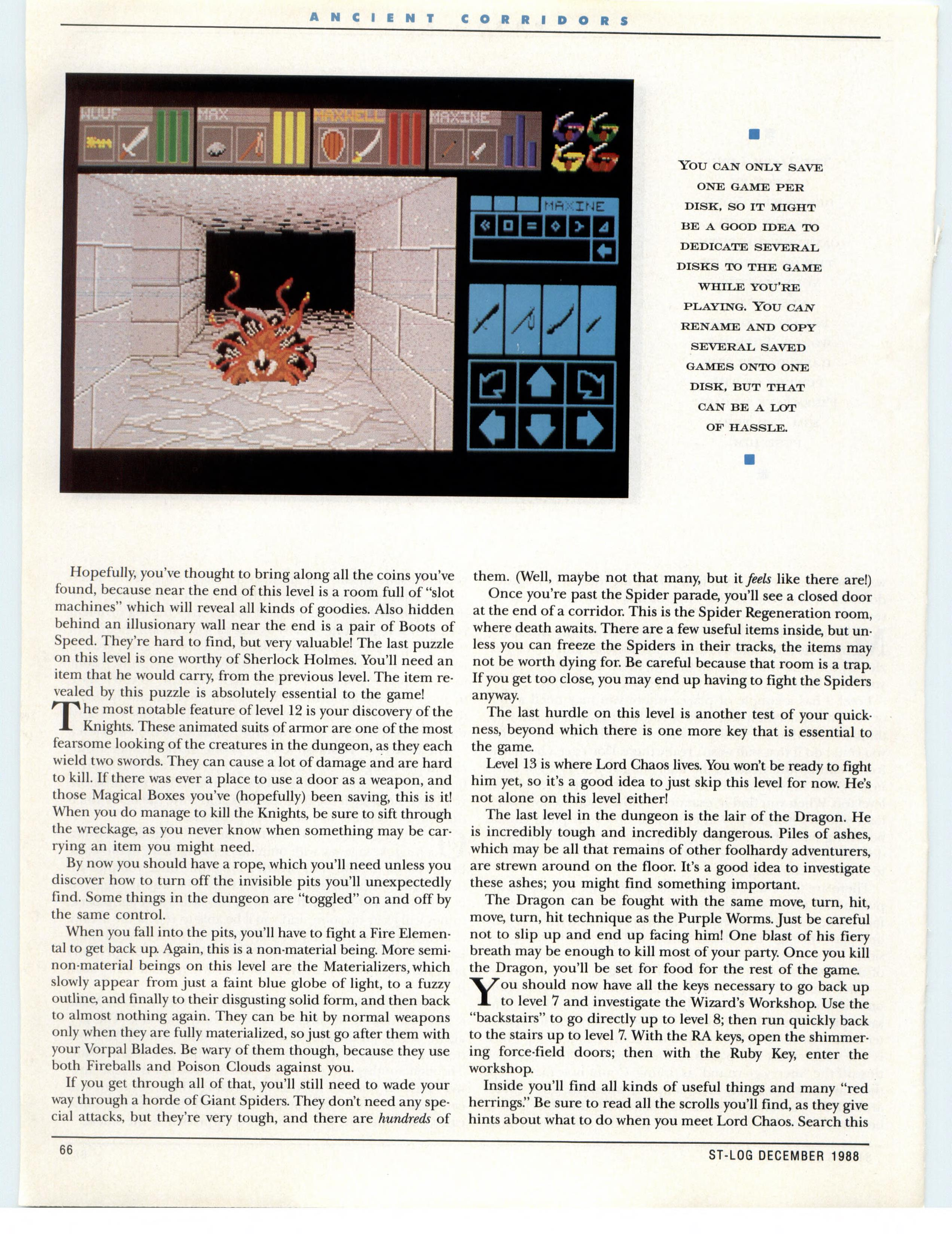 Dungeon Master for Atari ST Guide published in American magazine 'ST-Log', Issue #26 December 1988, Page 66