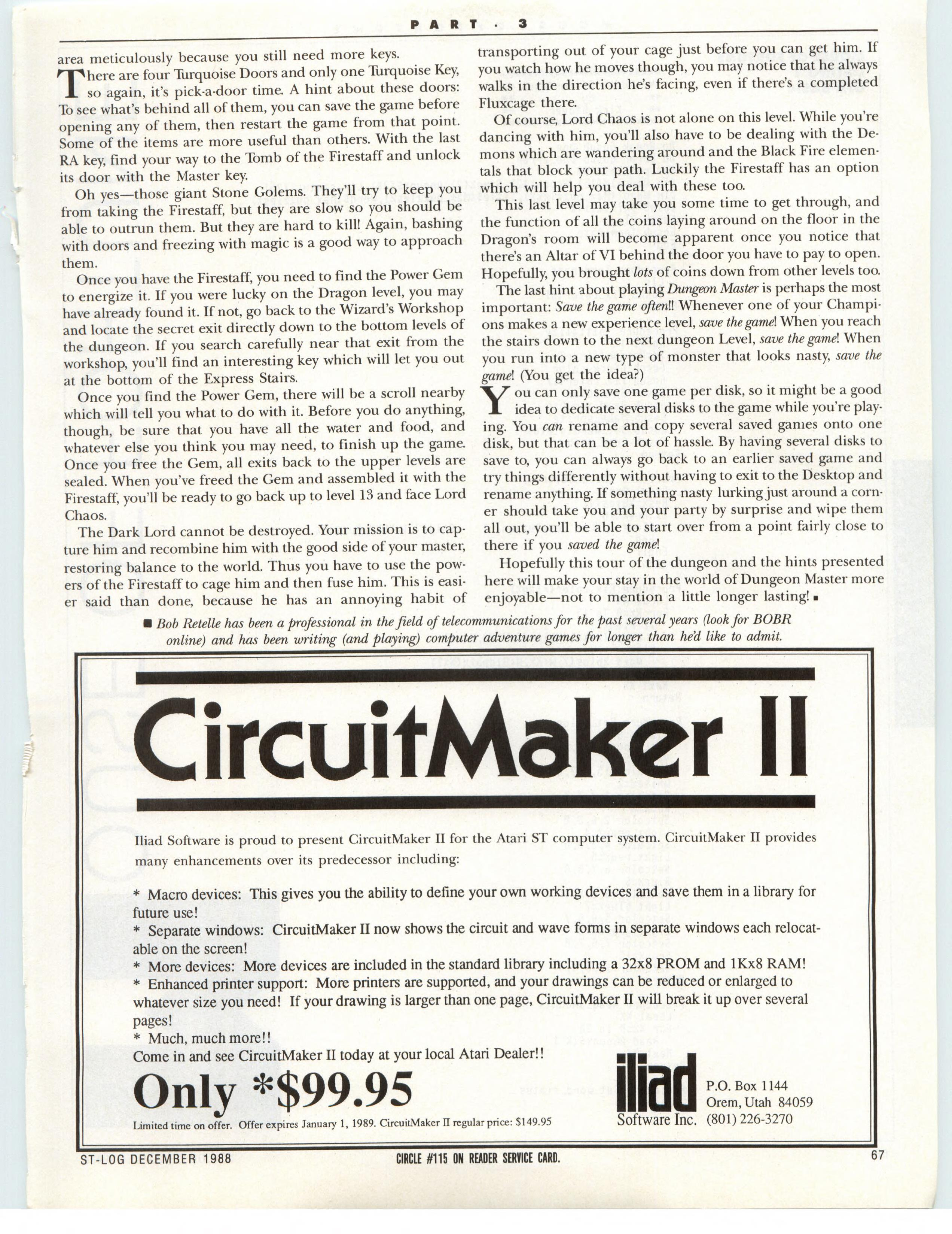 Dungeon Master for Atari ST Guide published in American magazine 'ST-Log', Issue #26 December 1988, Page 67