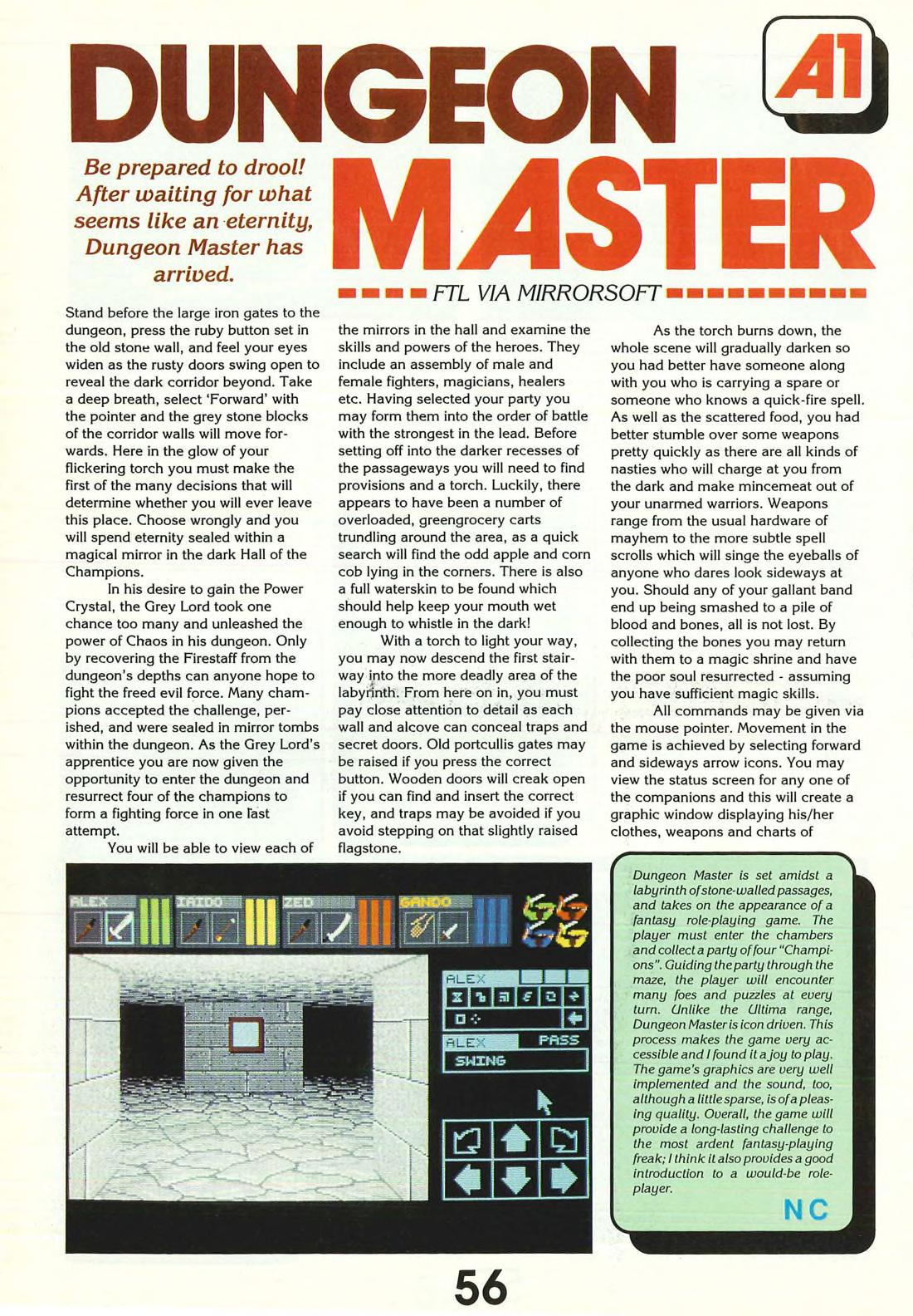 Dungeon Master for Atari ST Review published in British magazine 'ST Action', Issue #1 May 1988, Page 56