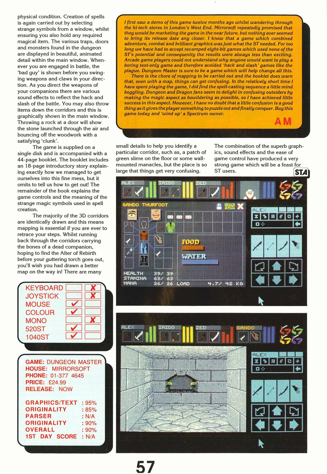 Dungeon Master for Atari ST Review published in British magazine 'ST Action', Issue #1 May 1988, Page 57