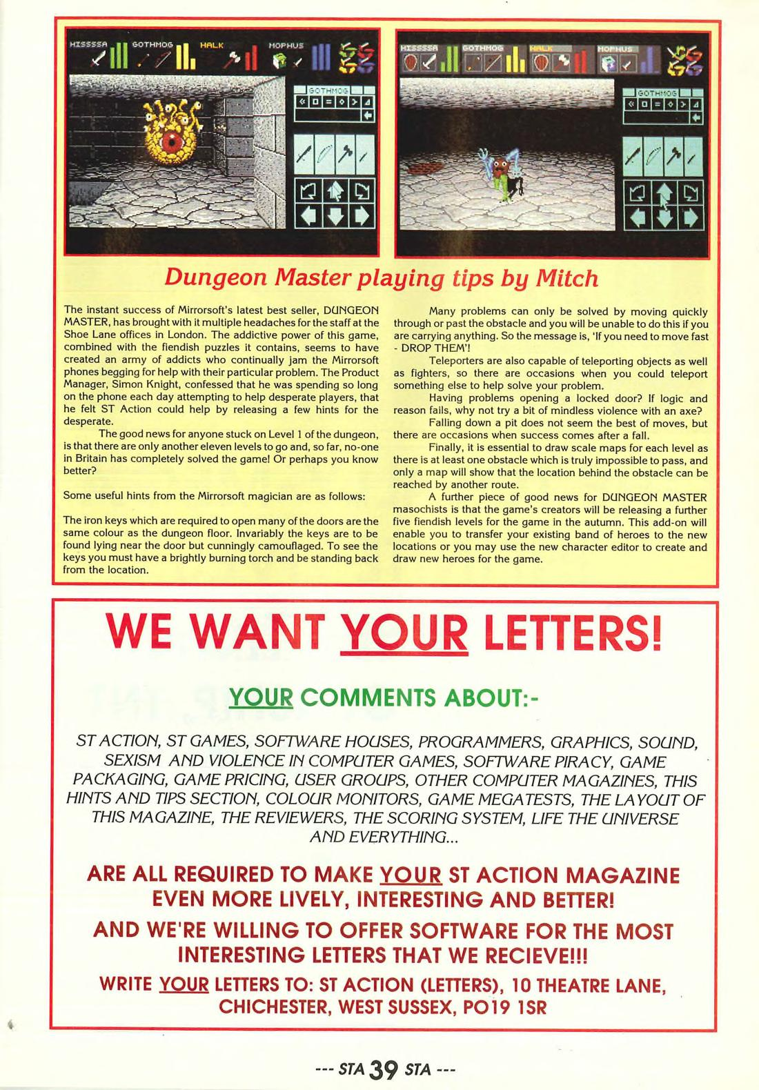 Dungeon Master Hints published in British magazine 'ST Action', Issue #2 June 1988, Page 39