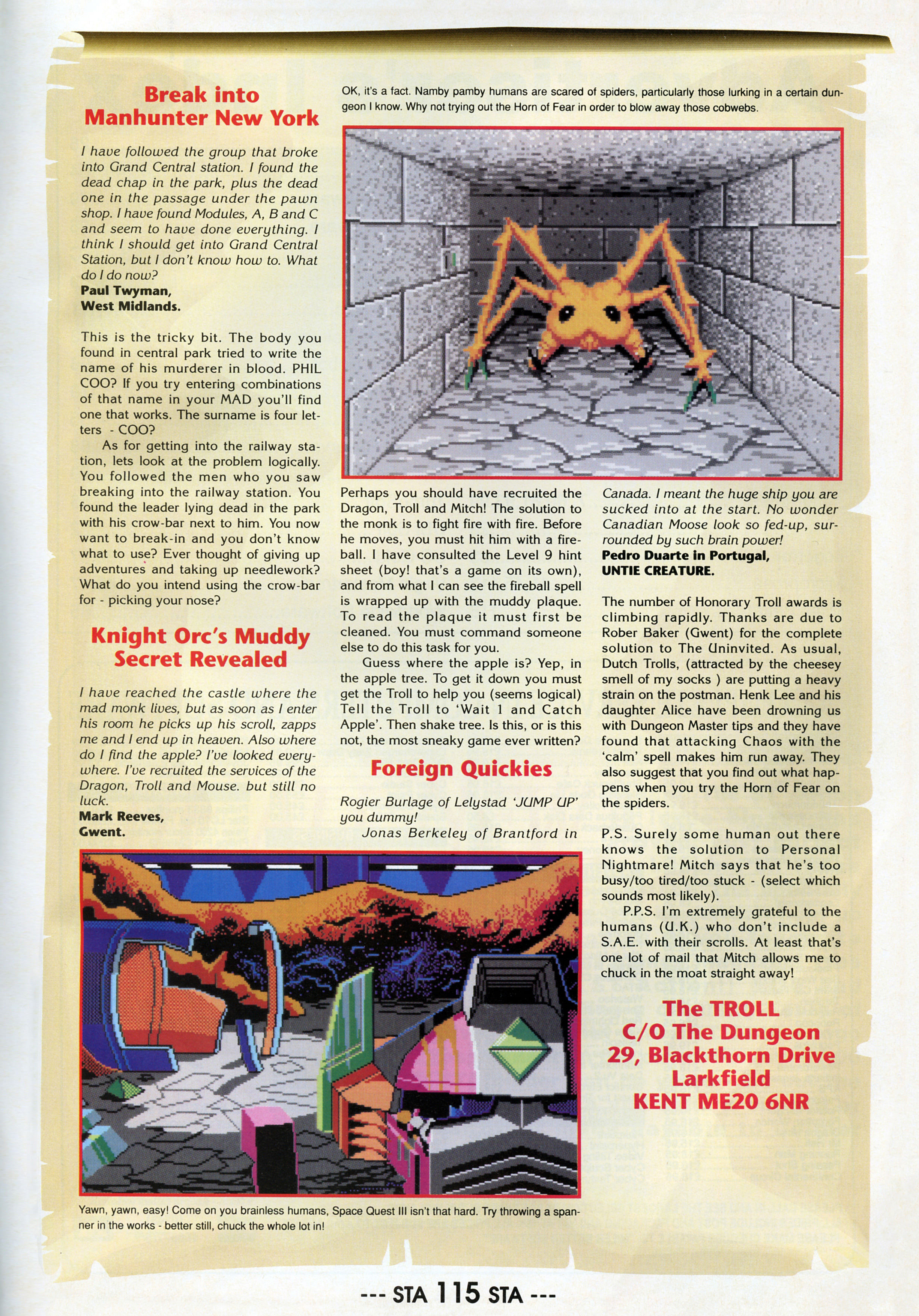 Dungeon Master Hints published in British magazine 'ST Action', Issue #20 December 1989, Page 115