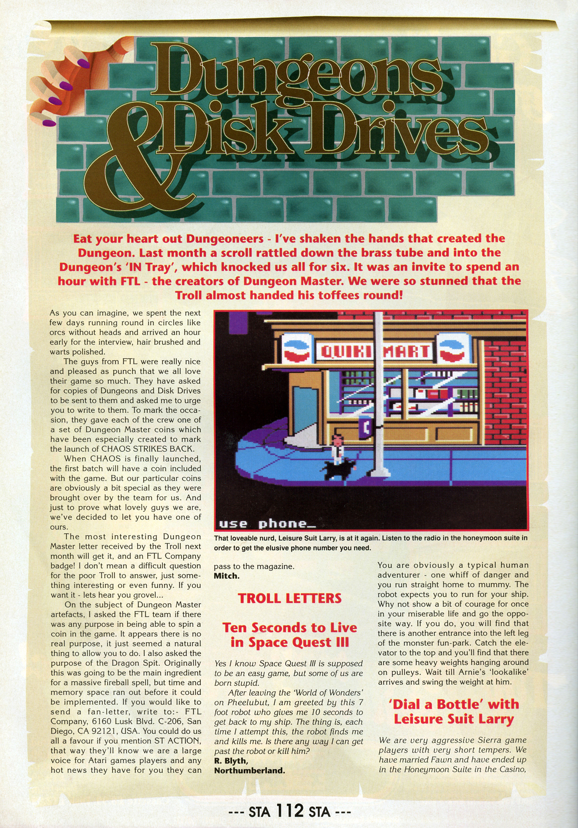 FTL Article published in British magazine 'ST Action', Issue #20 December 1989, Page 112