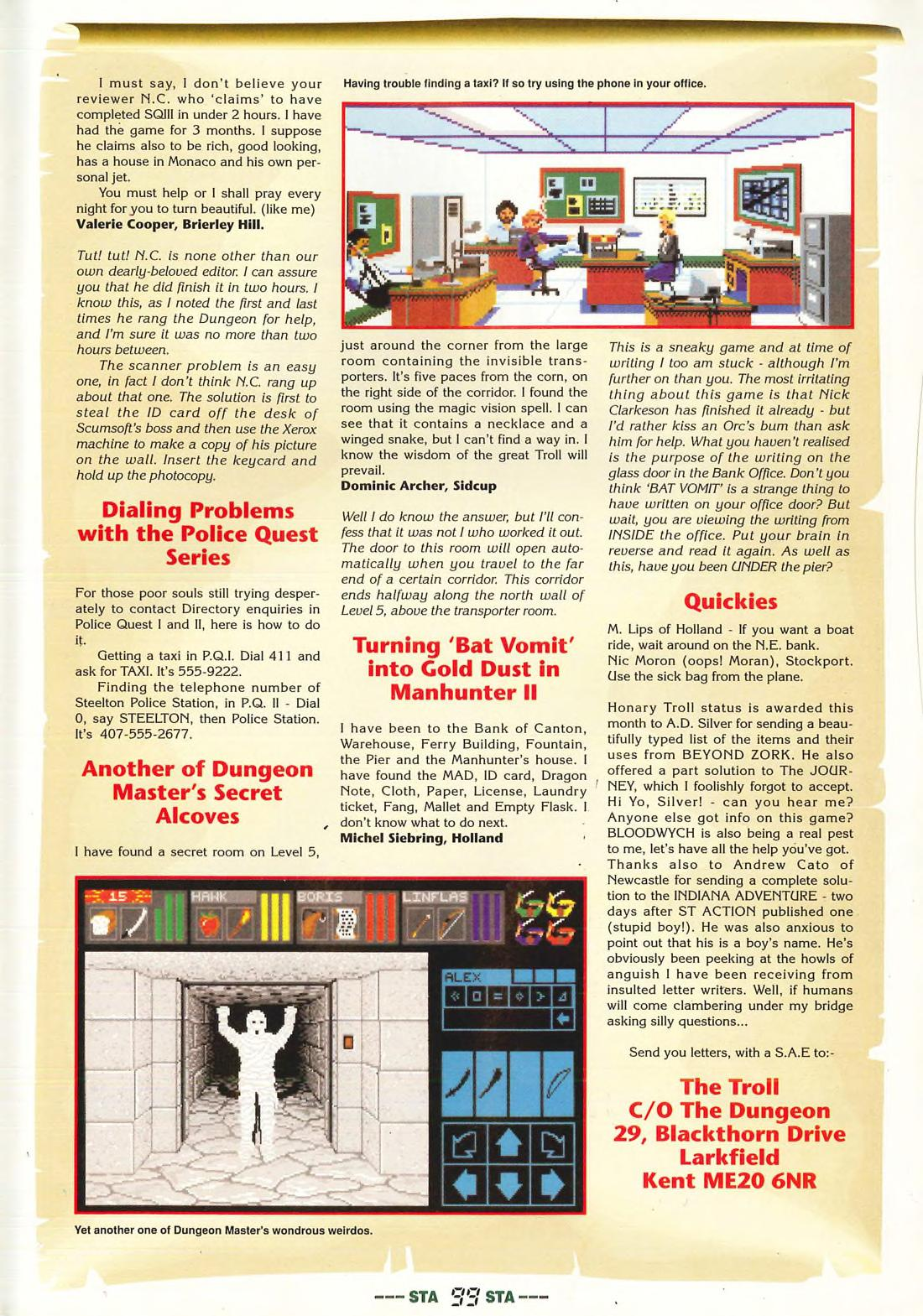 Dungeon Master Hints published in British magazine 'ST Action', Issue #21 January 1990, Page 99