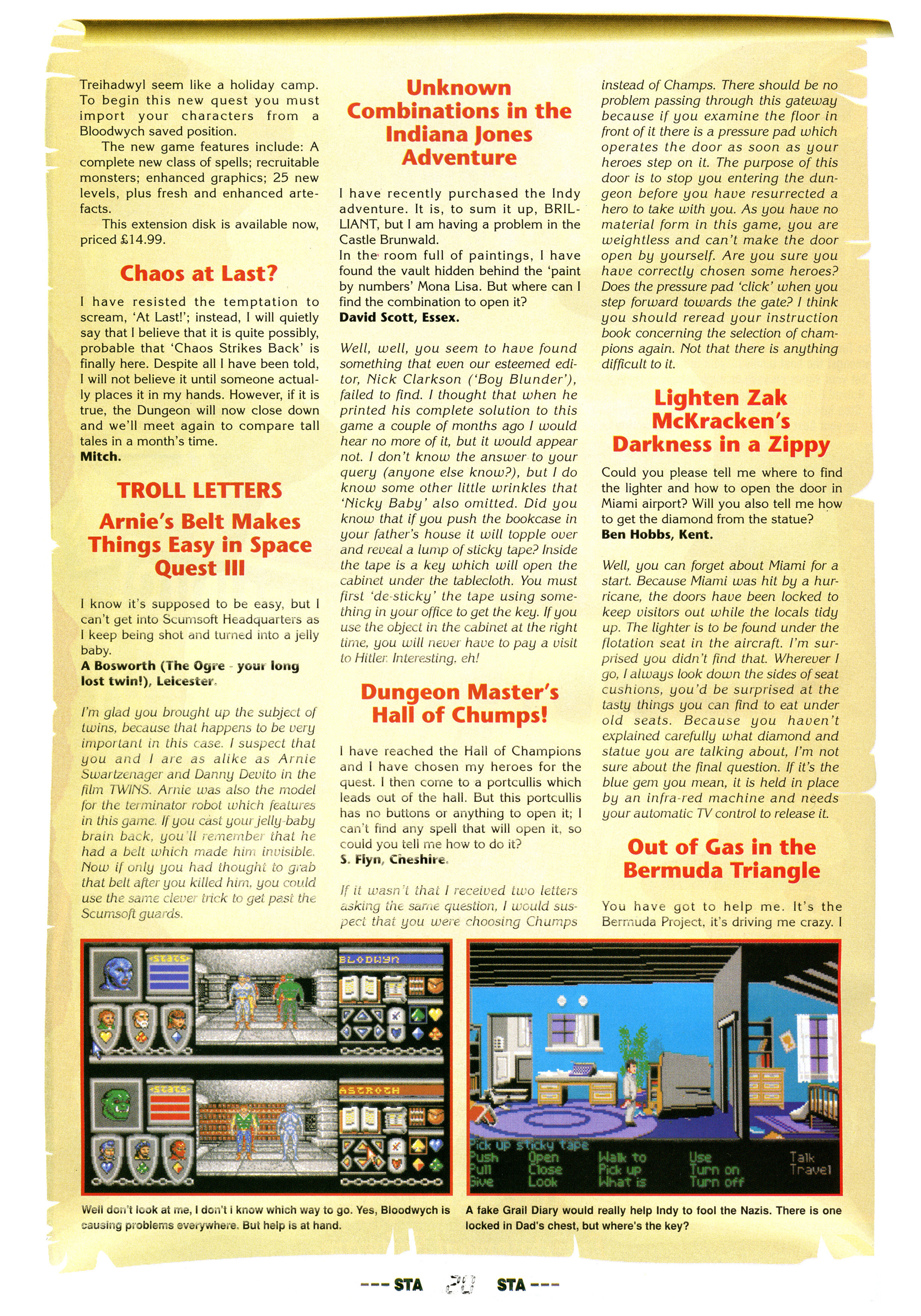 Dungeon Master Hints published in British magazine 'ST Action', Issue #22 February 1990, Page 20