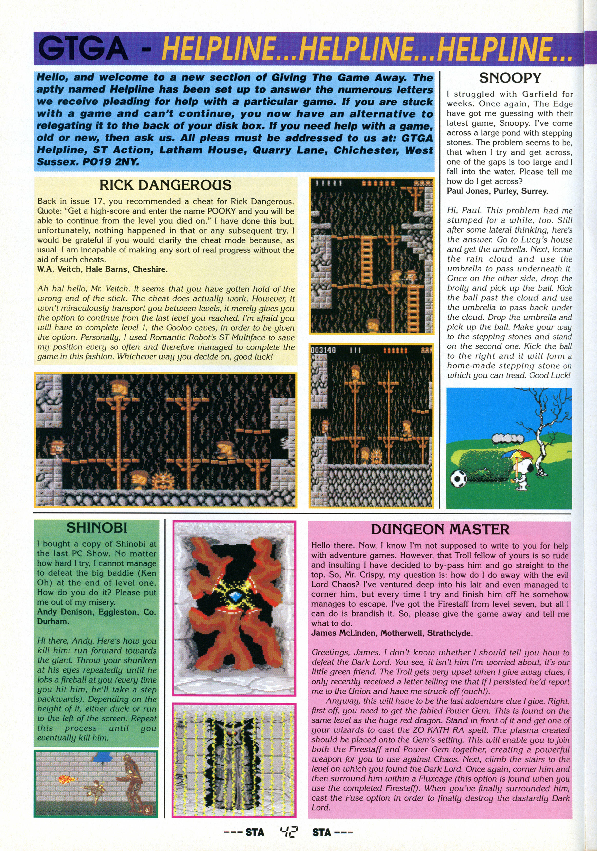 Dungeon Master Hints published in British magazine 'ST Action', Issue #23 March 1990, Page 42