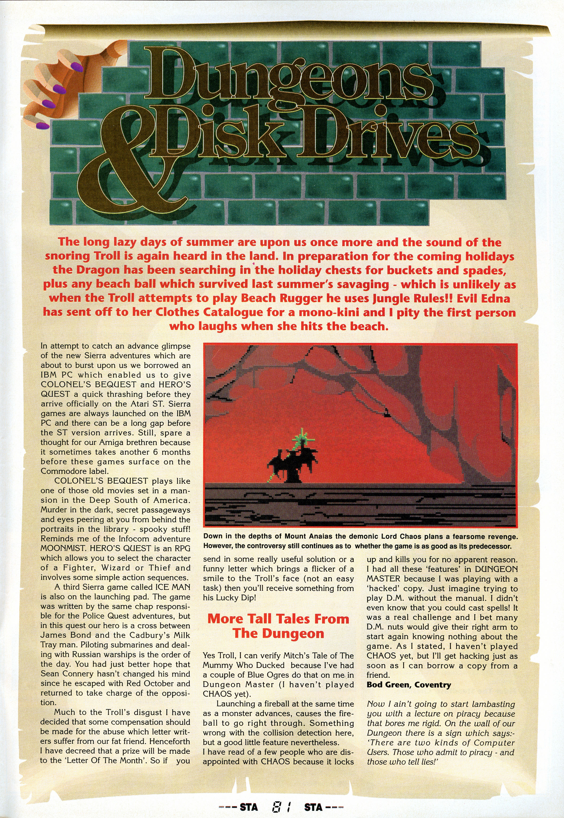 Dungeon Master Hints published in British magazine 'ST Action', Issue #28 August 1990, Page 81