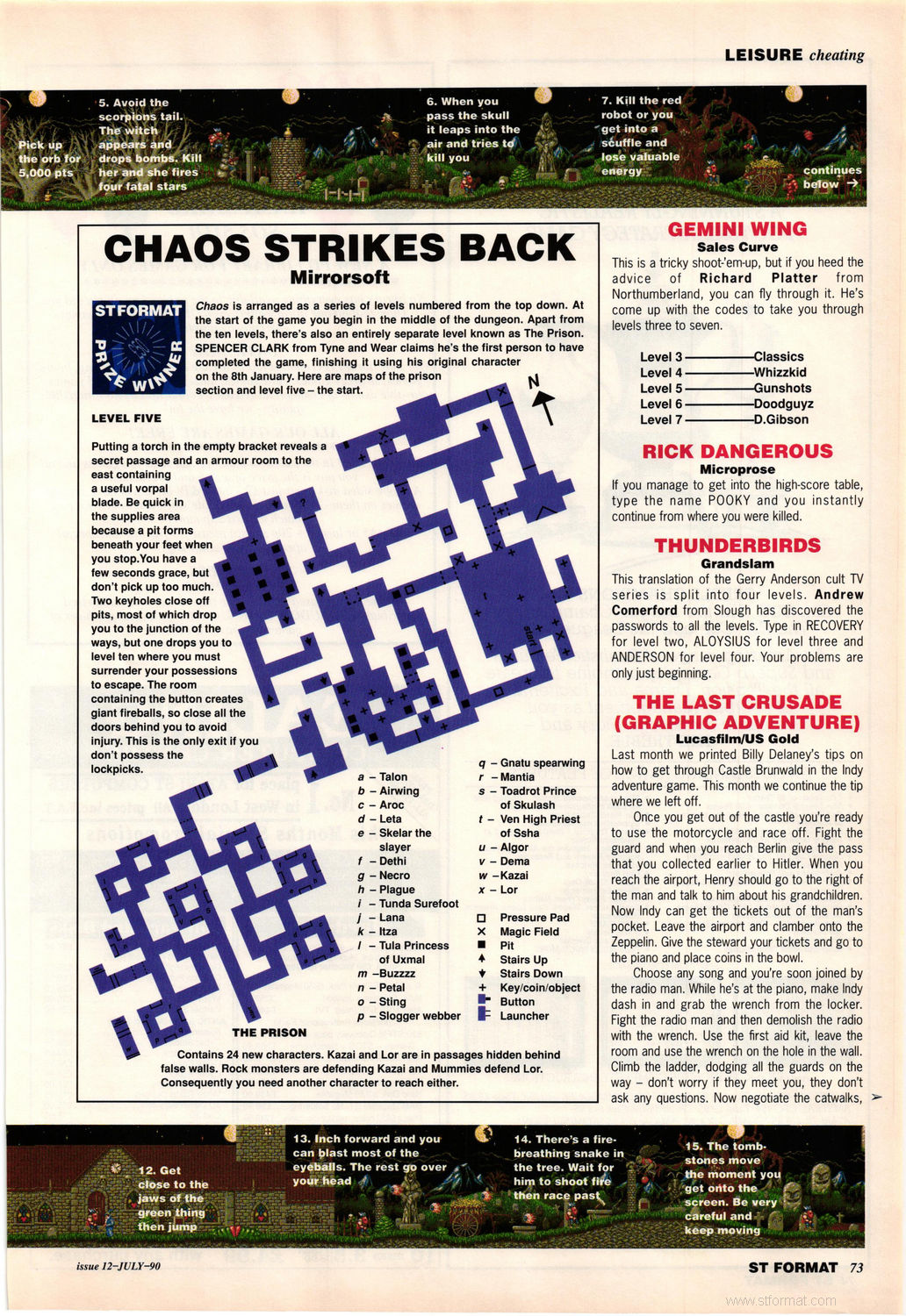 Chaos Strikes Back Hints published in British magazine 'ST Format', Issue #12 July 1990, Page 73
