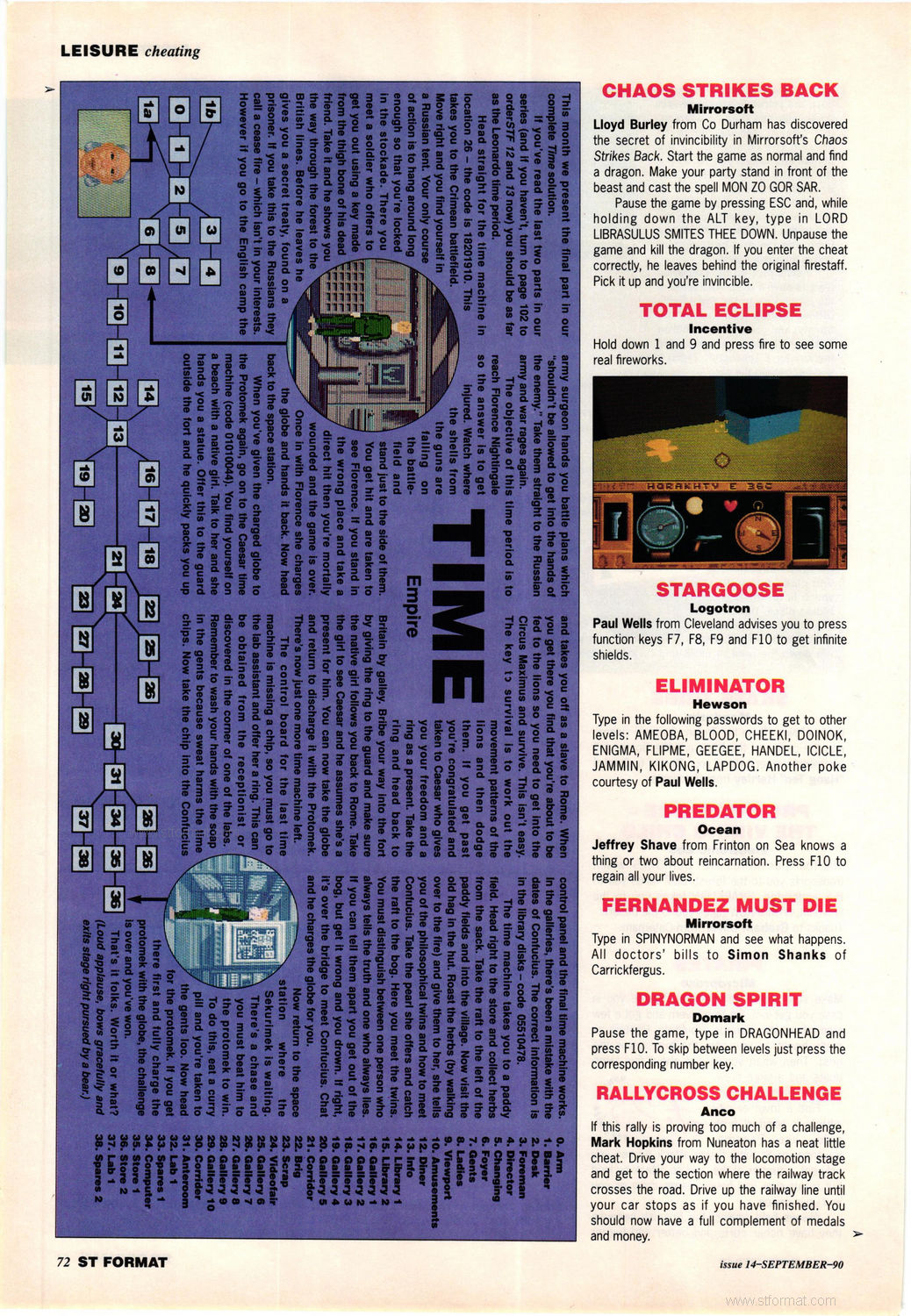 Chaos Strikes Back Fake CSB Cheat published in British magazine 'ST Format', Issue #14 September 1990, Page 72