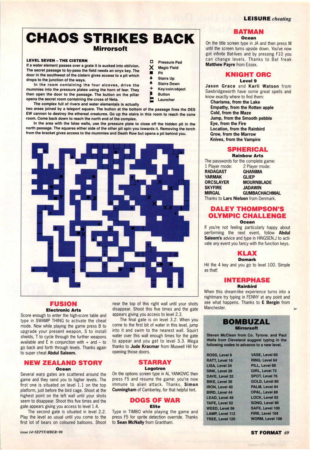 Chaos Strikes Back Hints published in British magazine 'ST Format', Issue #14 September 1990, Page 69