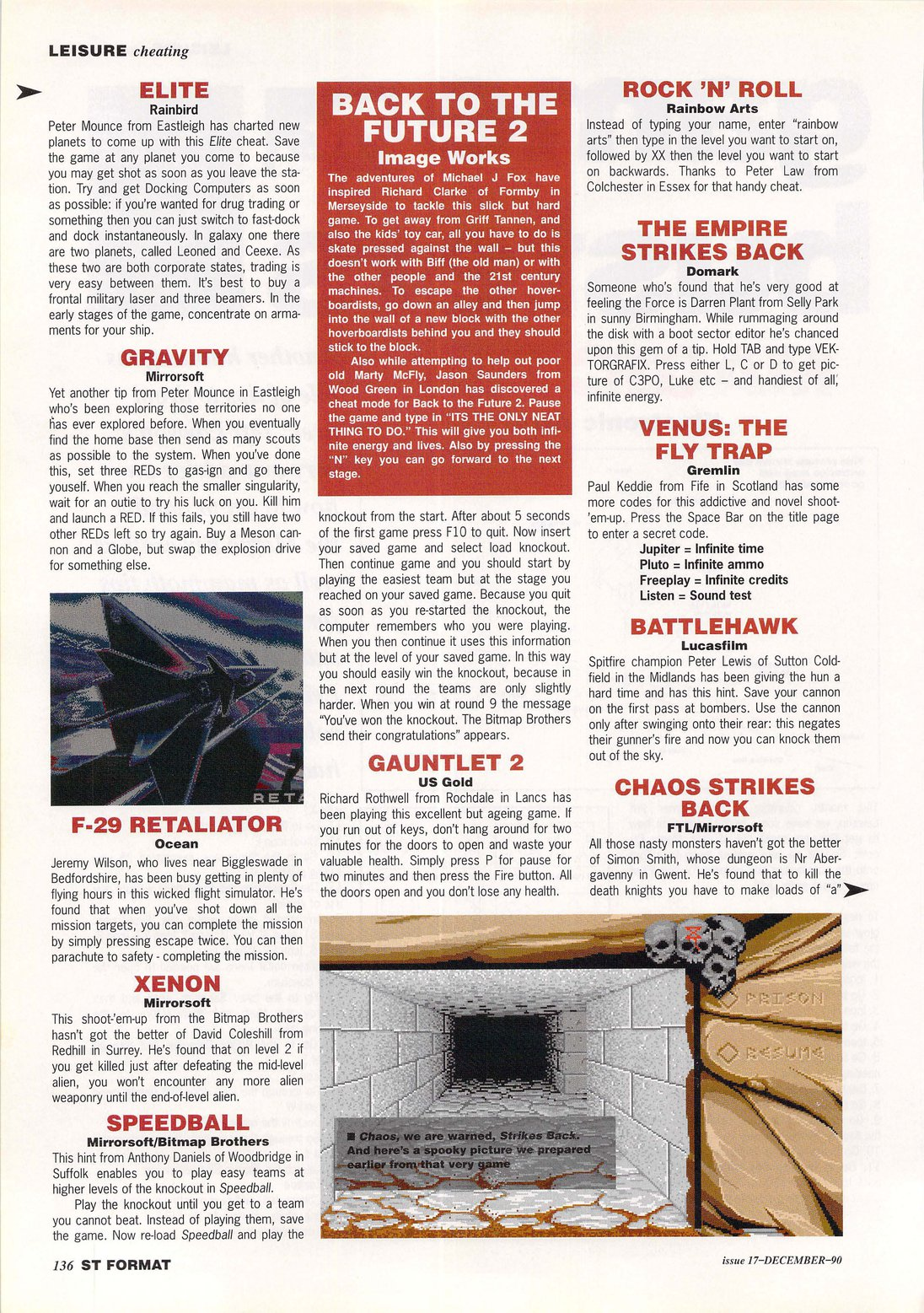 Chaos Strikes Back Hints published in British magazine 'ST Format', Issue #17 December 1990, Page 136