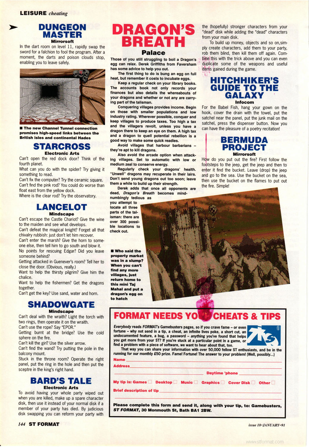Dungeon Master Hints published in British magazine 'ST Format', Issue #18 January 1991, Page 144