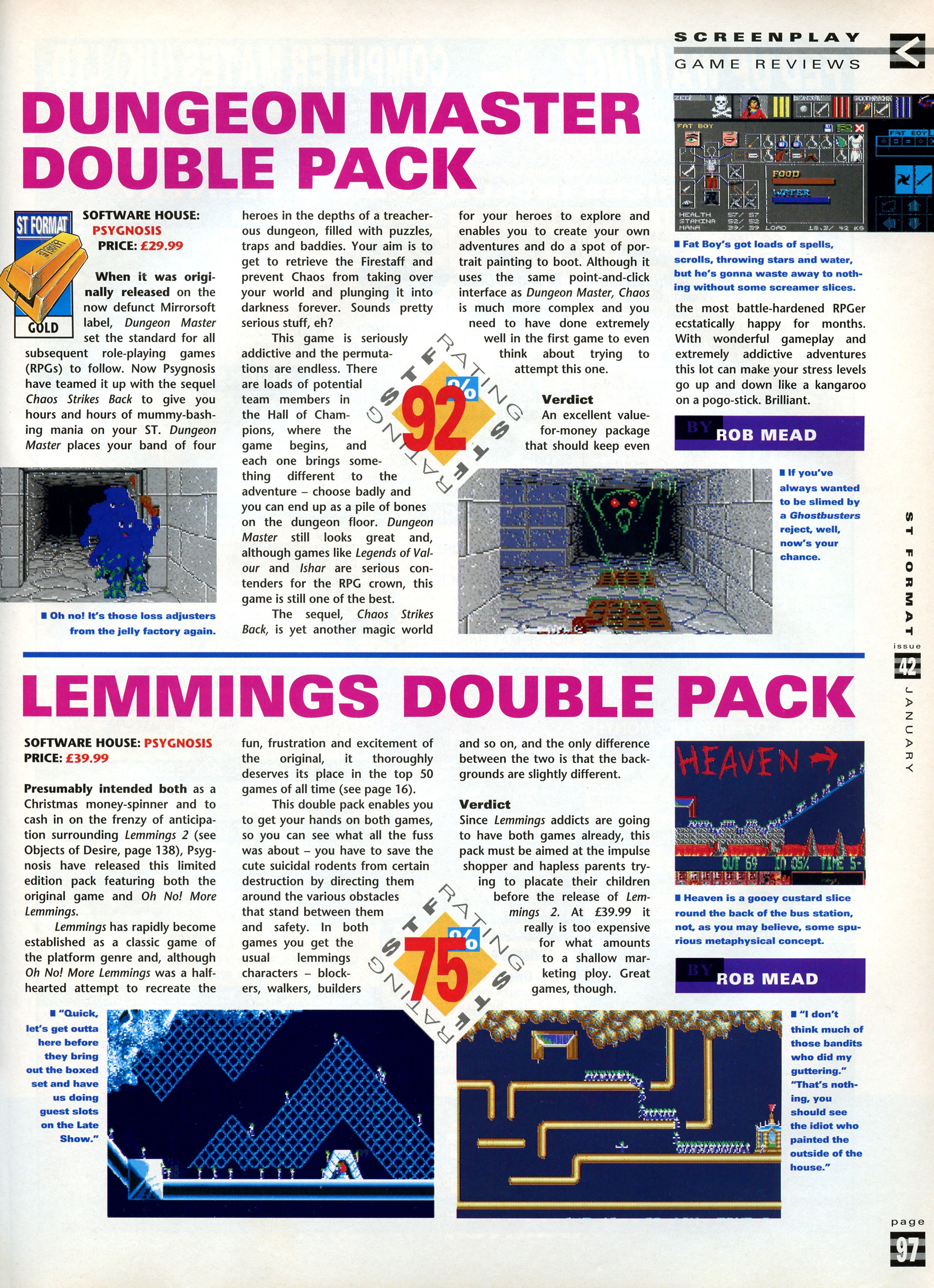 Dungeon Master And Chaos Strikes Back Review published in British magazine 'ST Format', Issue #42 January 1993, Page 97