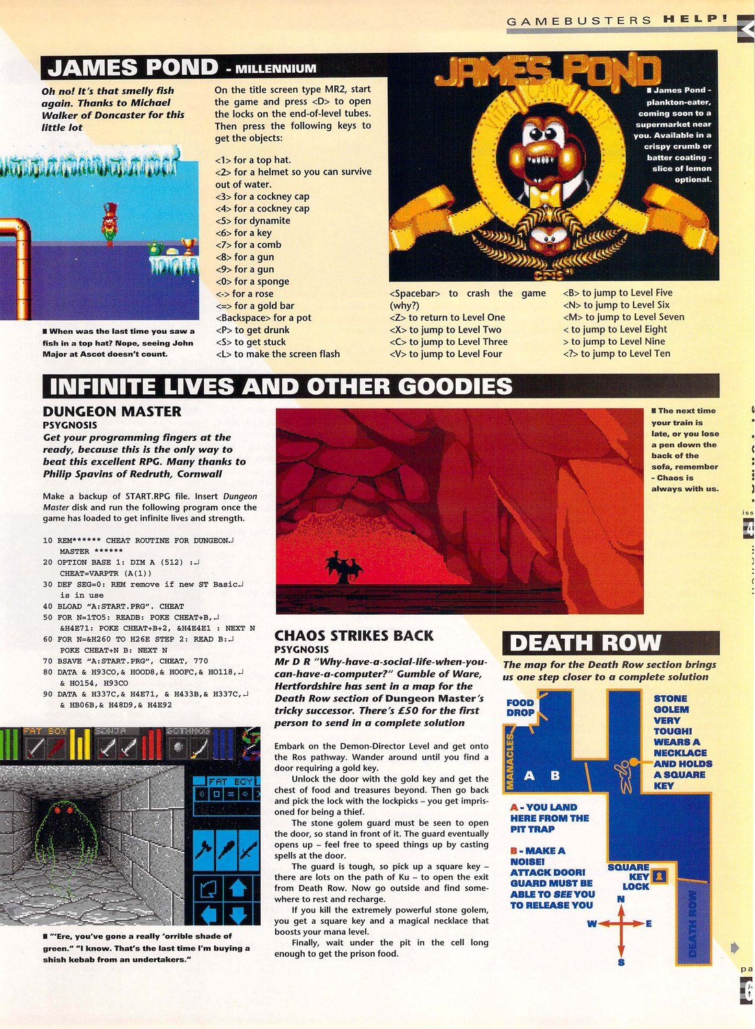 Dungeon Master And Chaos Strikes Back Hints published in British magazine 'ST Format', Issue #44 March 1993, Page 69