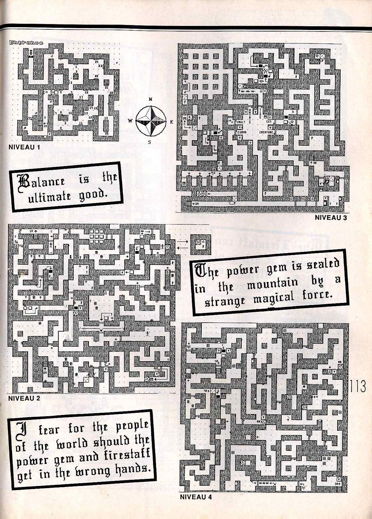 Dungeon Master for Atari ST Guide published in French magazine 'ST Magazine', Issue #20 June 1988, Page 113