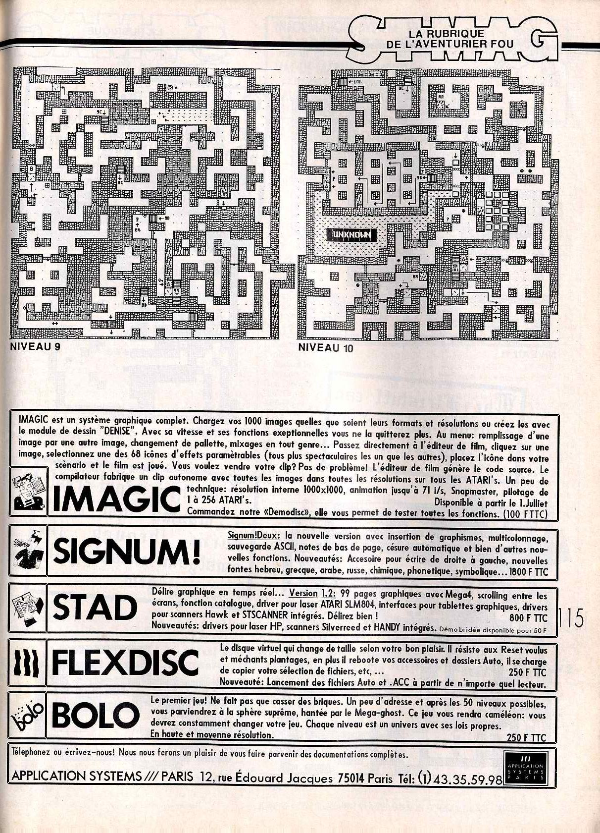 Dungeon Master for Atari ST Guide published in French magazine 'ST Magazine', Issue #20 June 1988, Page 115