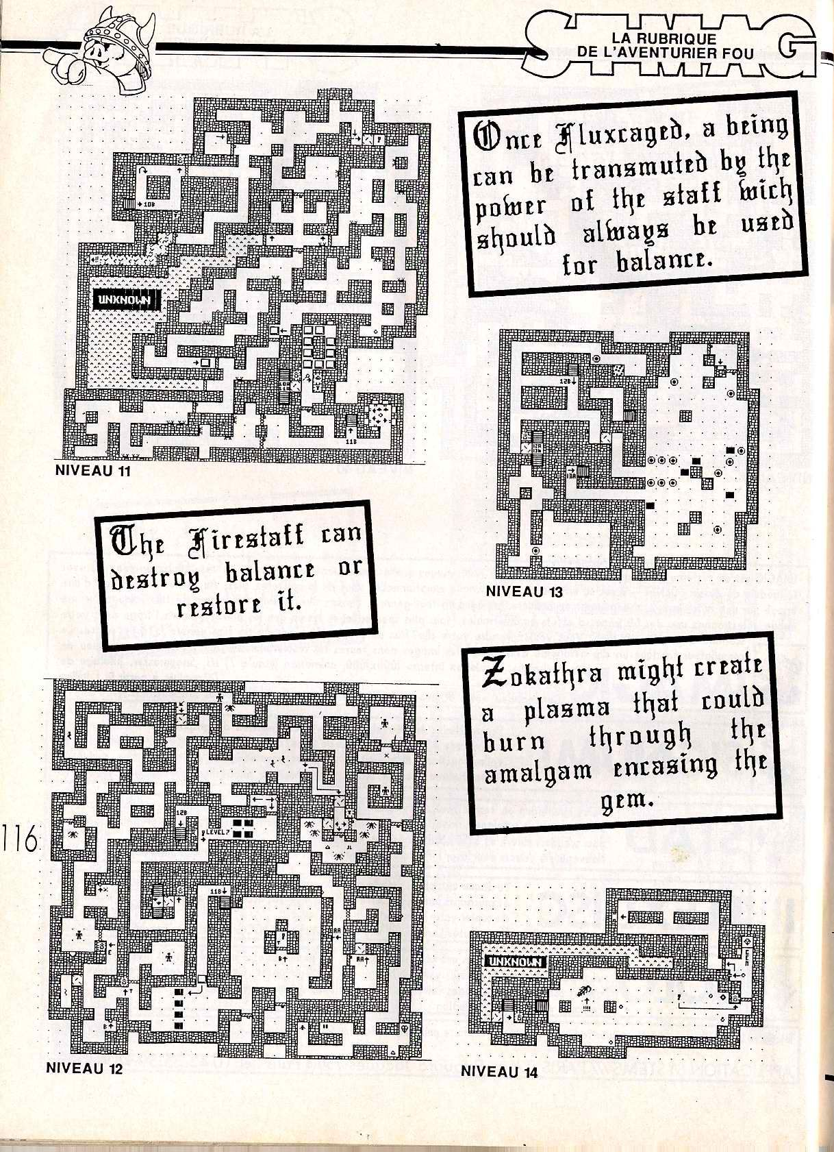 Dungeon Master for Atari ST Guide published in French magazine 'ST Magazine', Issue #20 June 1988, Page 116