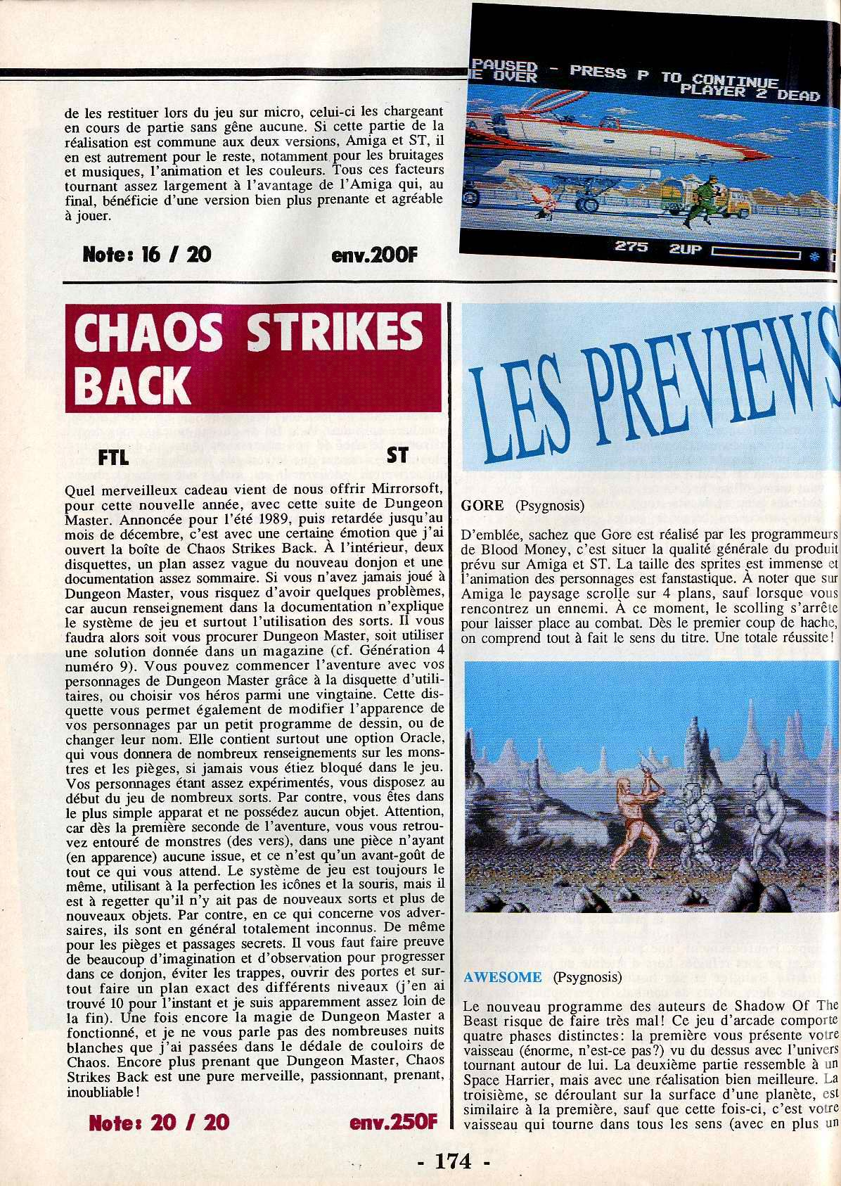 Chaos Strikes Back for Atari ST Review published in French magazine 'ST Magazine', Issue #37 February 1990, Page 174