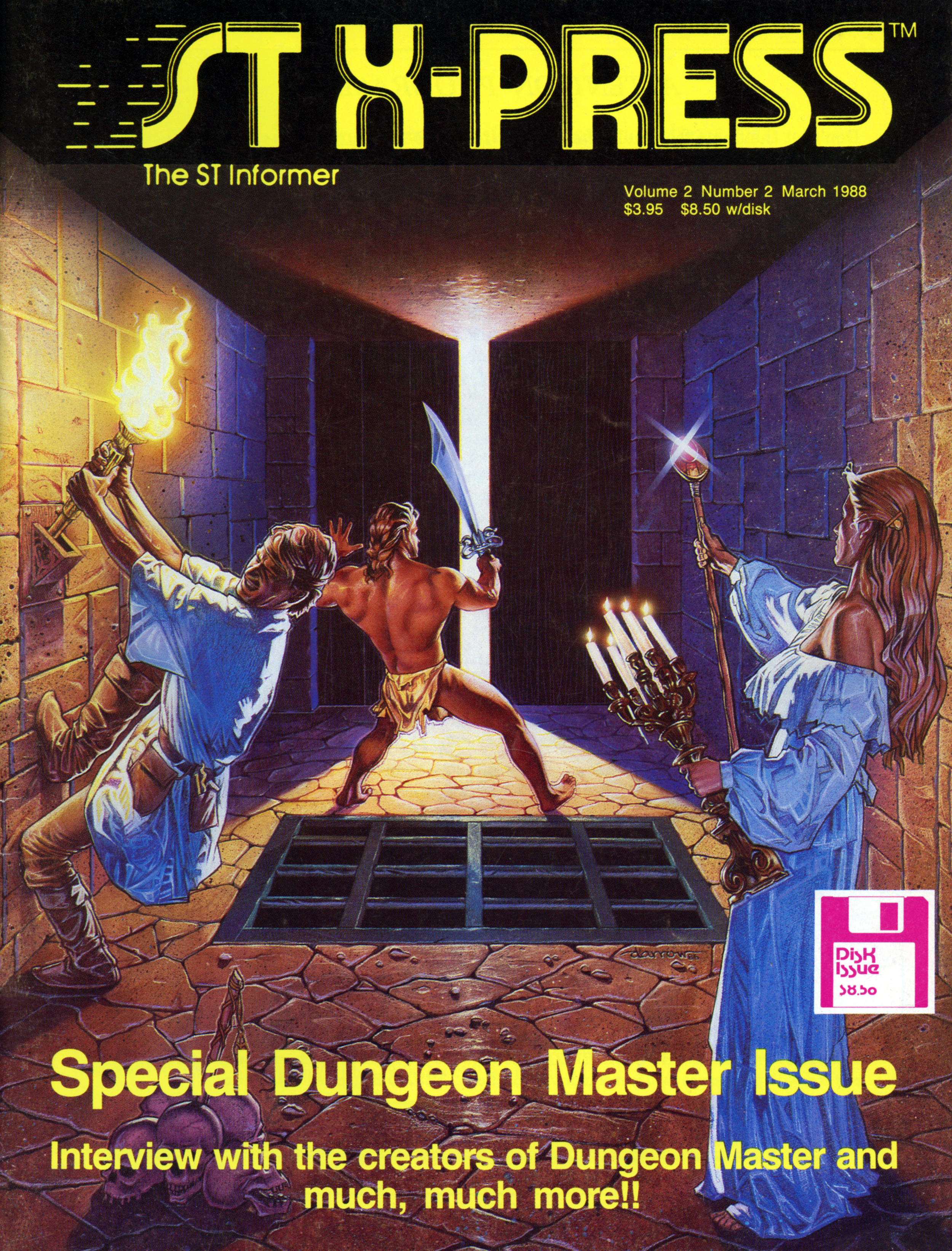 Dungeon Master for Atari ST Cover published in American magazine 'ST X-PRESS', Vol 2 No 2 March 1988