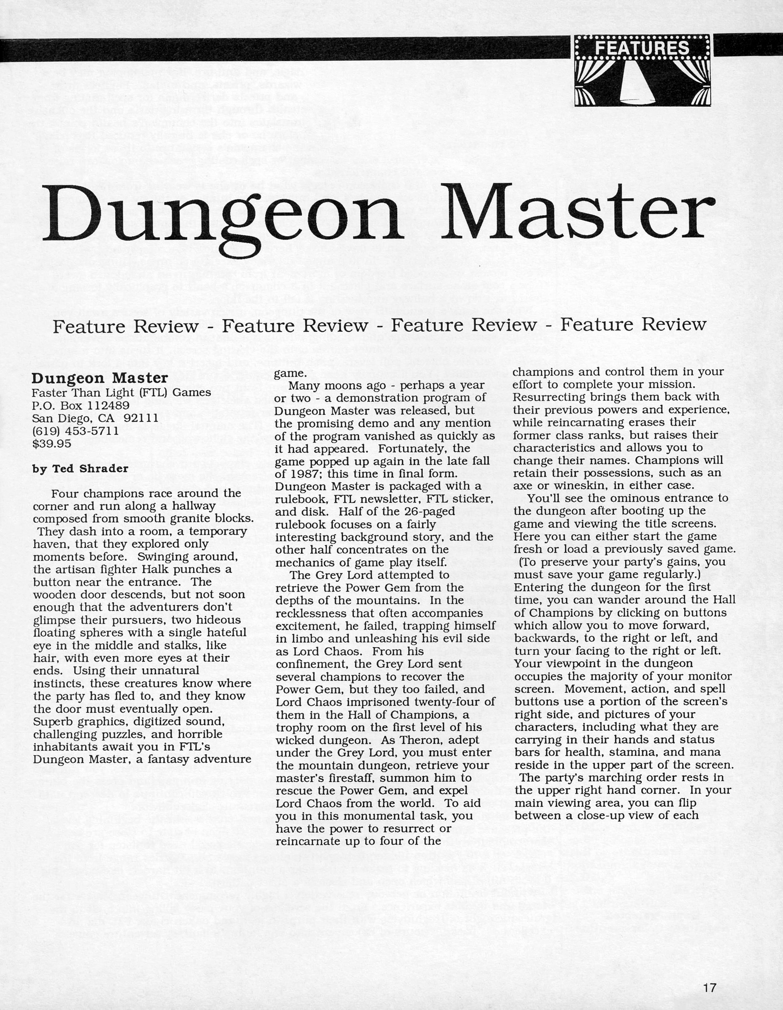Dungeon Master for Atari ST Review published in American magazine 'ST X-PRESS', Vol 2 No 2 March 1988, Page 17