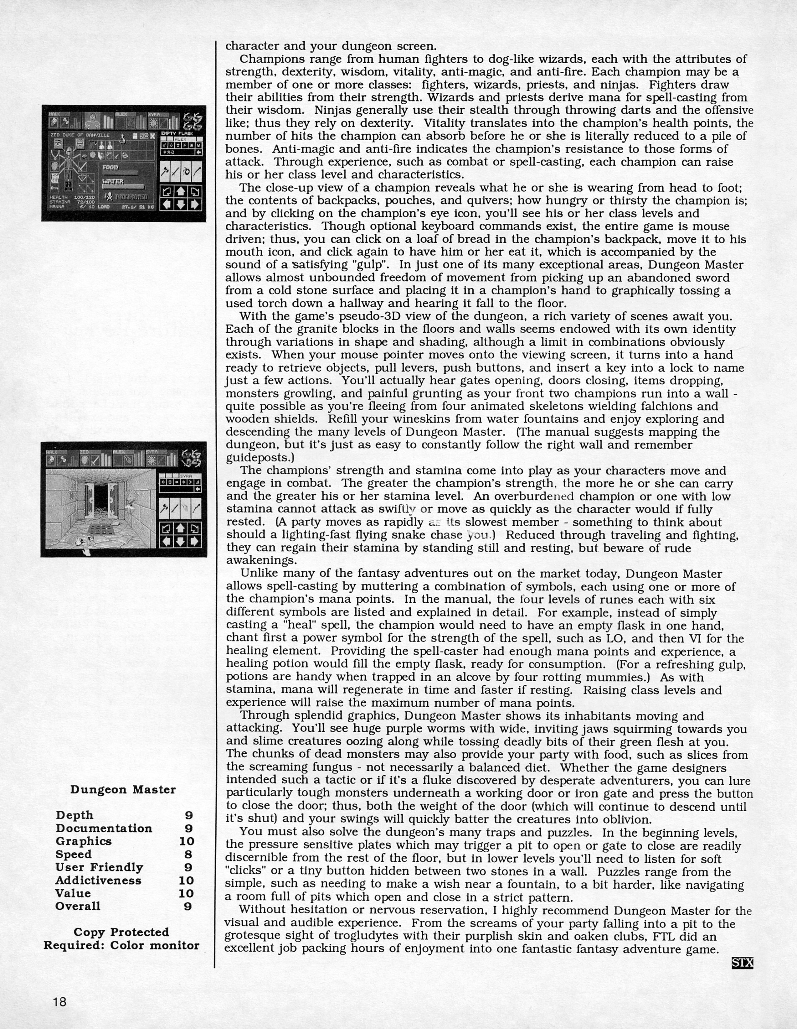 Dungeon Master for Atari ST Review published in American magazine 'ST X-PRESS', Vol 2 No 2 March 1988, Page 18