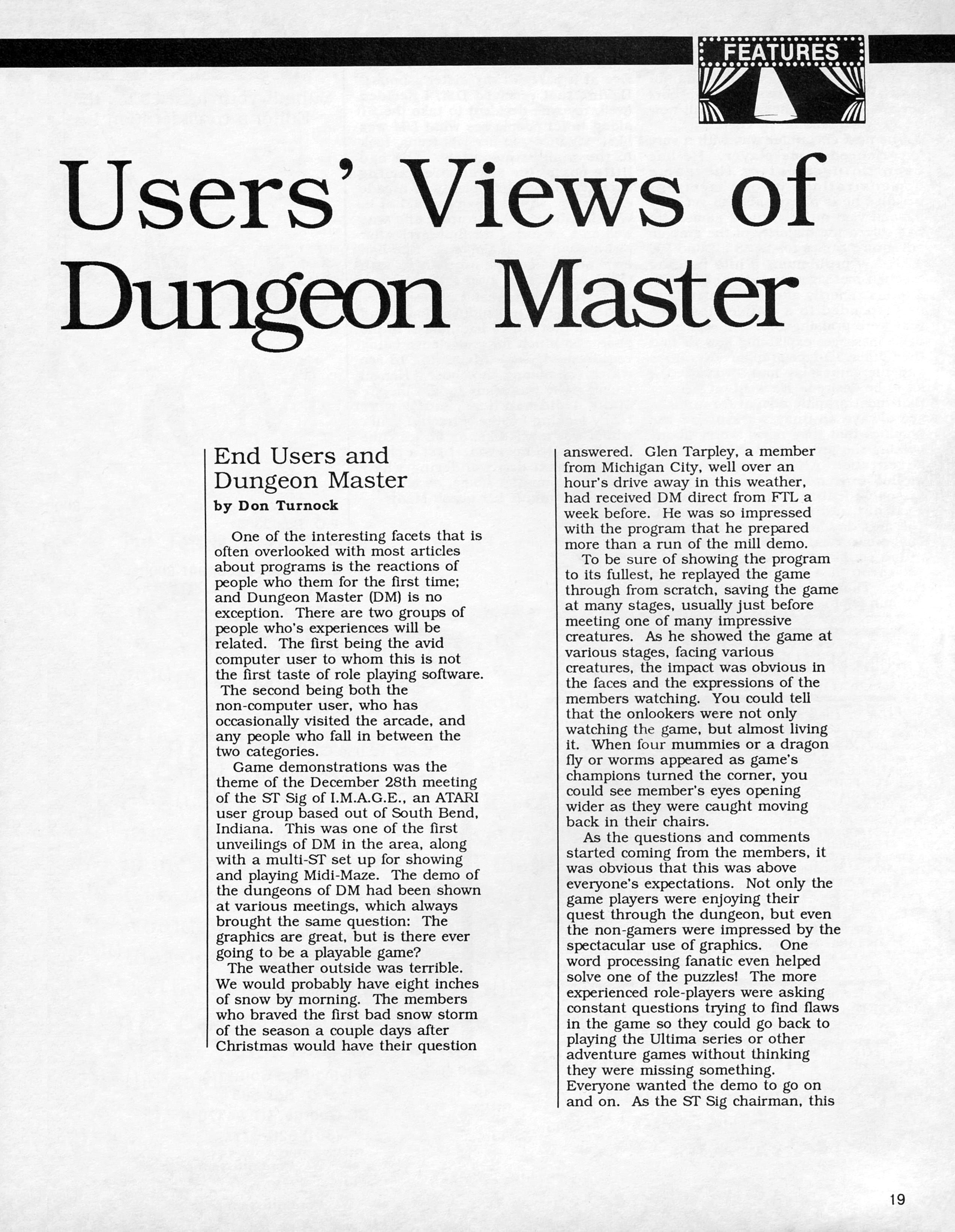 Dungeon Master for Atari ST Review published in American magazine 'ST X-PRESS', Vol 2 No 2 March 1988, Page 19