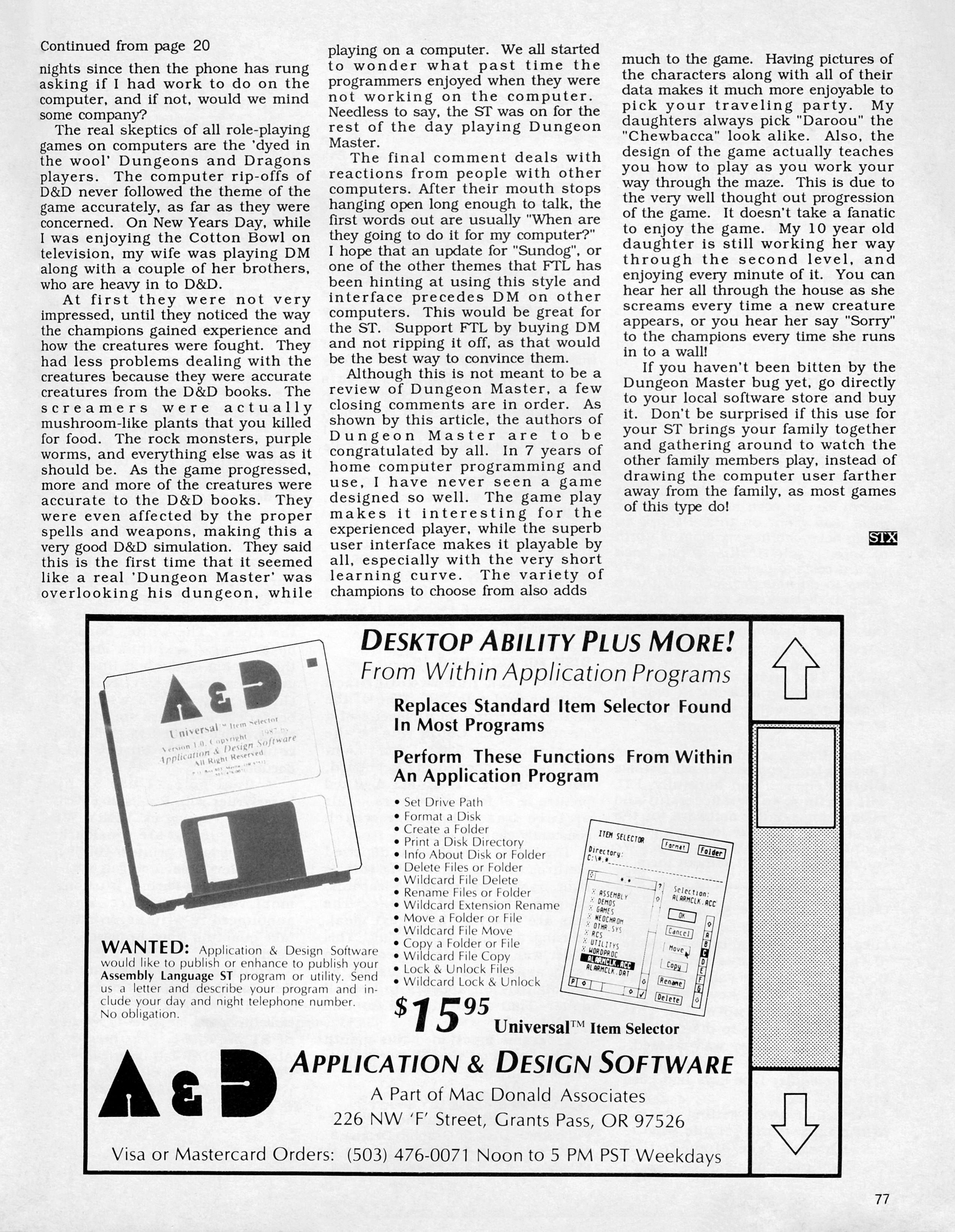 Dungeon Master for Atari ST Review published in American magazine 'ST X-PRESS', Vol 2 No 2 March 1988, Page 77