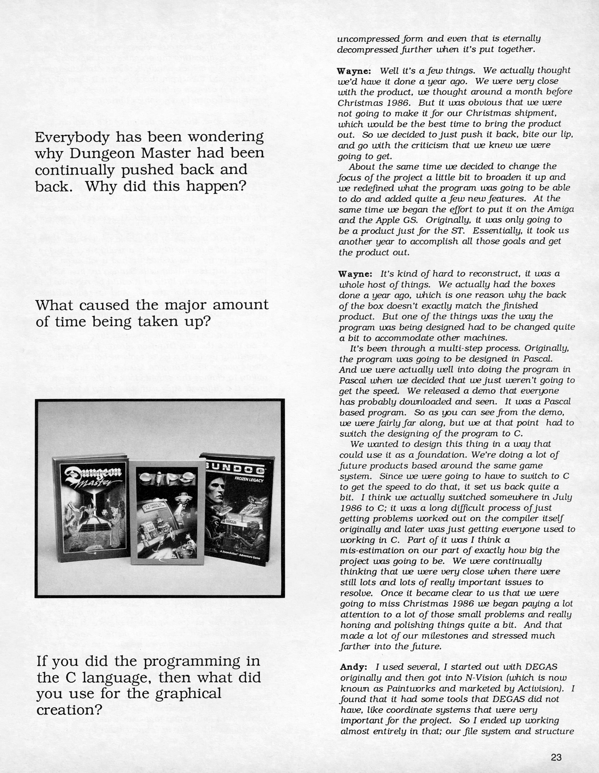 FTL Interview published in American magazine 'ST X-PRESS', Vol 2 No 2 March 1988, Page 23