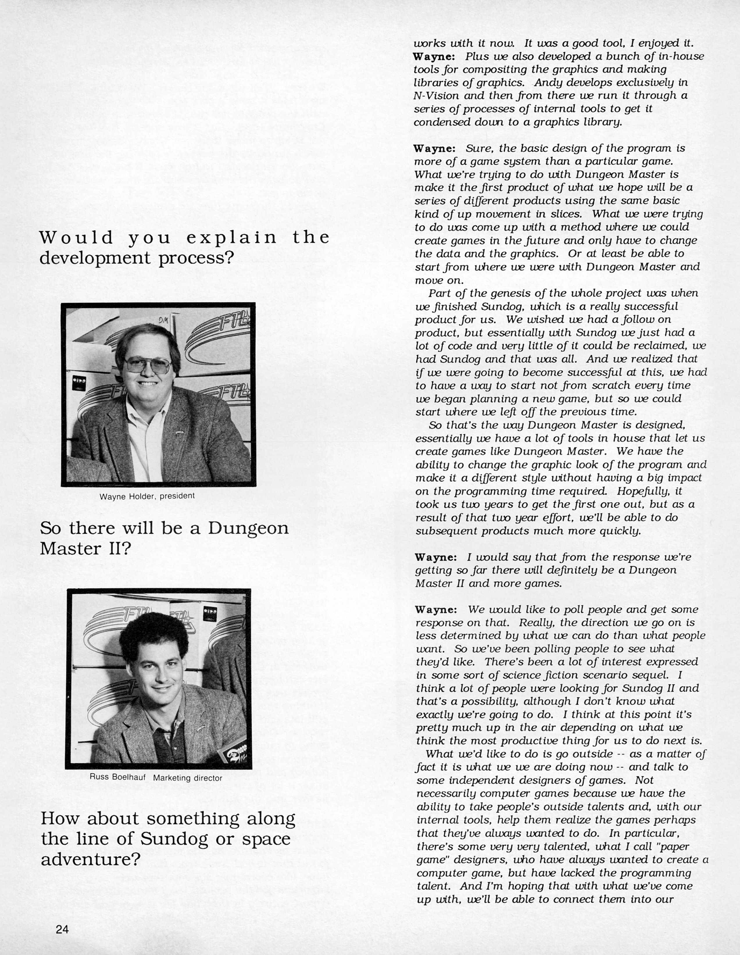 FTL Interview published in American magazine 'ST X-PRESS', Vol 2 No 2 March 1988, Page 24