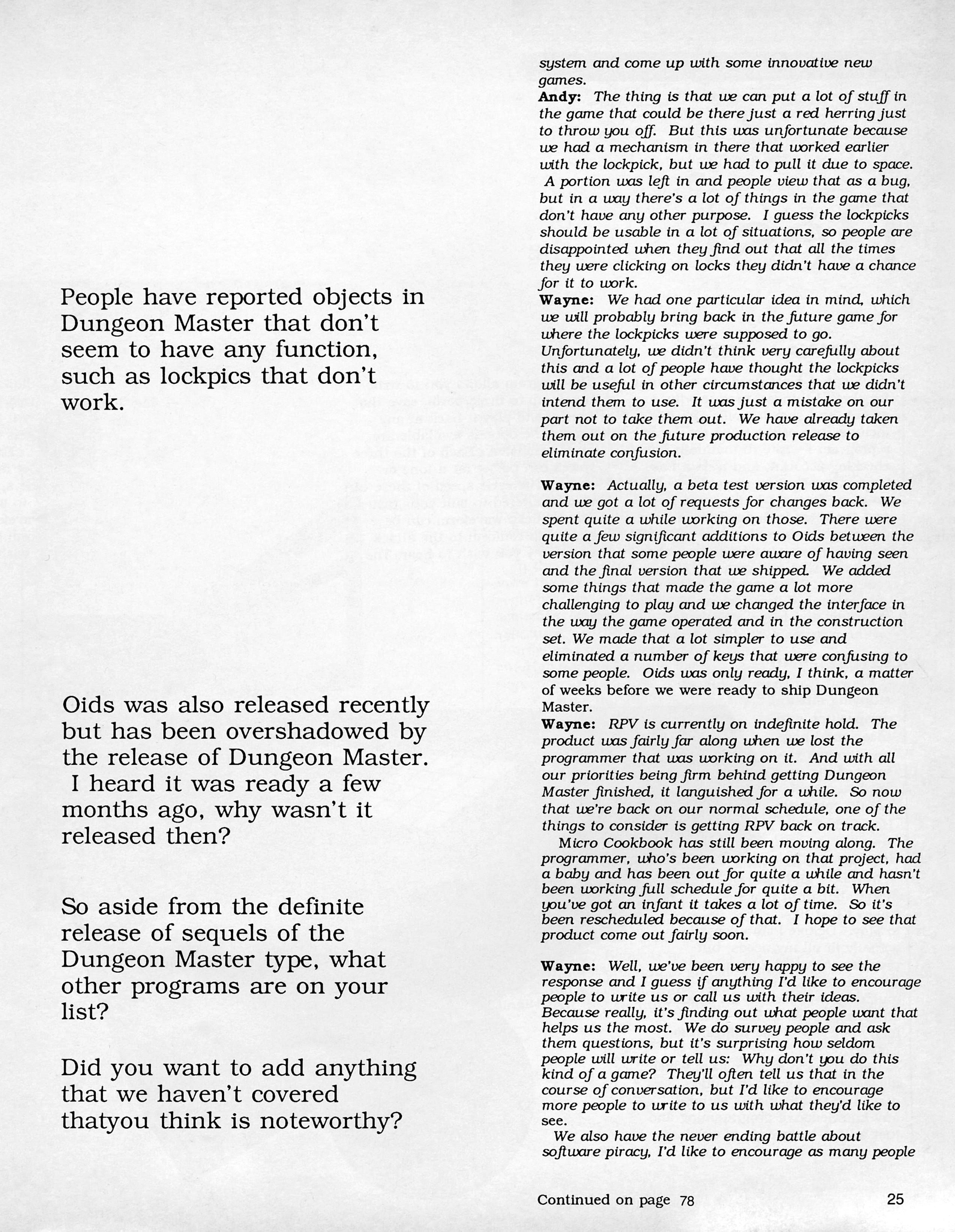 FTL Interview published in American magazine 'ST X-PRESS', Vol 2 No 2 March 1988, Page 25