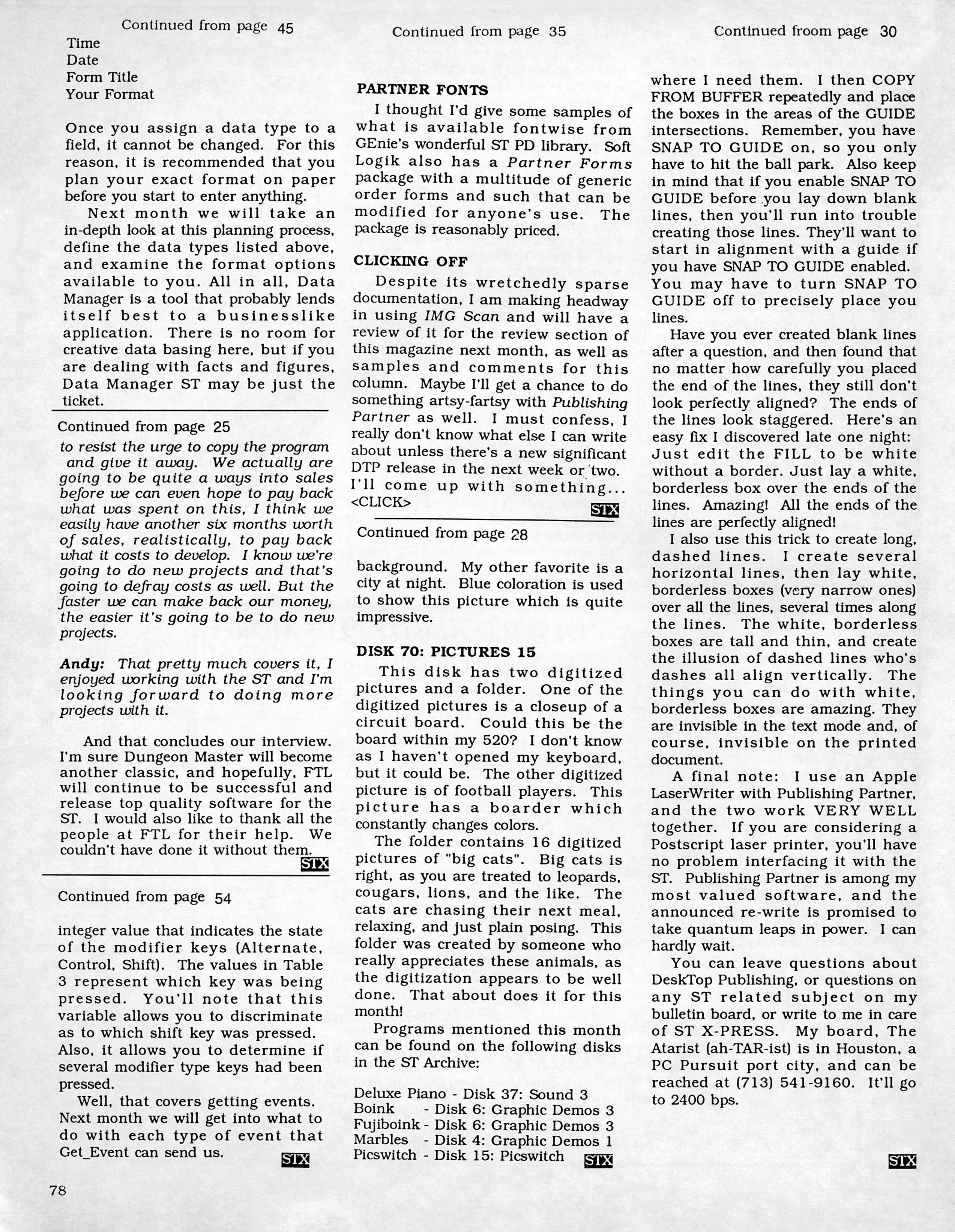 FTL Interview published in American magazine 'ST X-PRESS', Vol 2 No 2 March 1988, Page 78