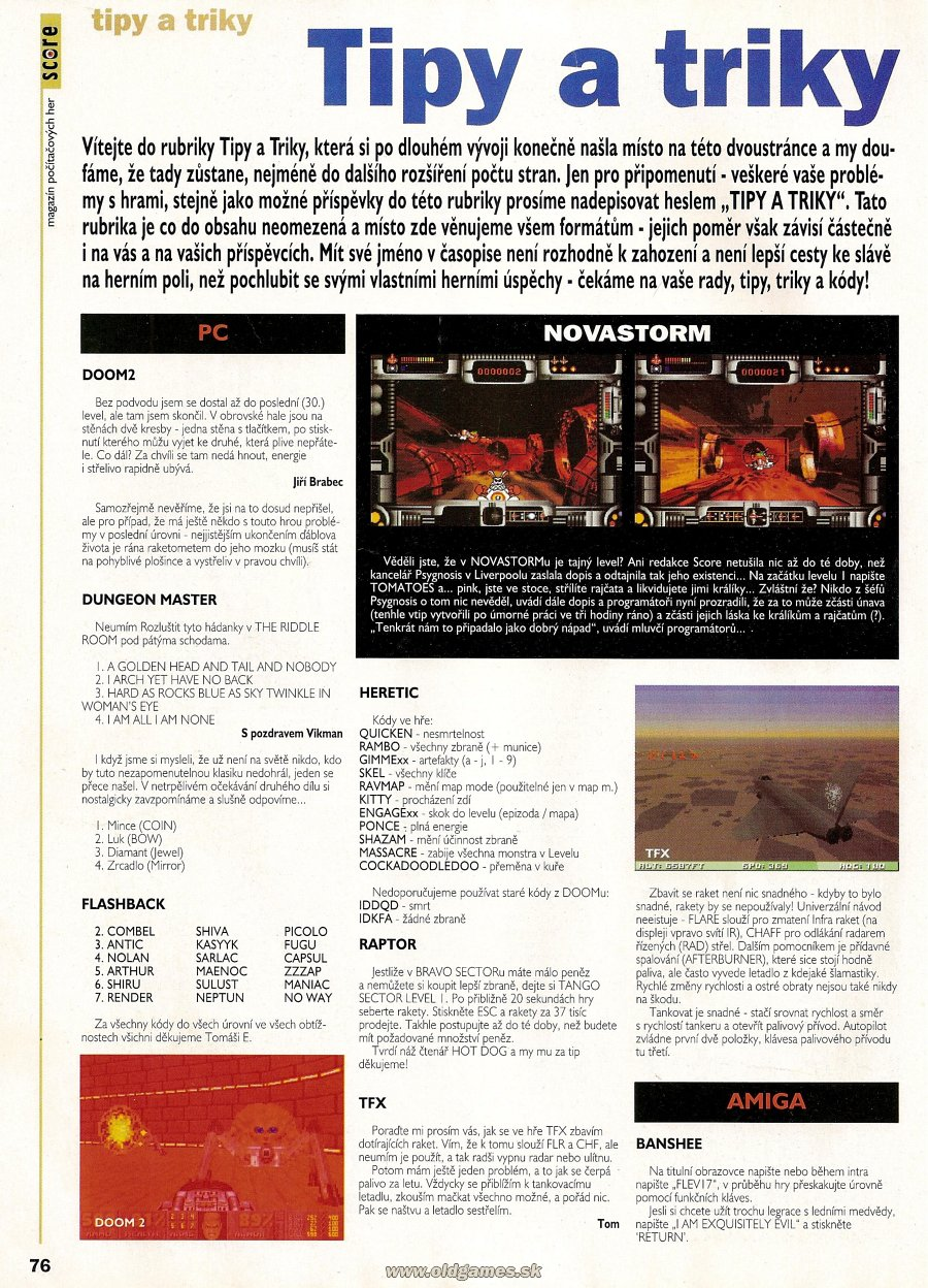 Dungeon Master Hints published in Czech magazine 'Score', Issue #13 January 1995, Page 76