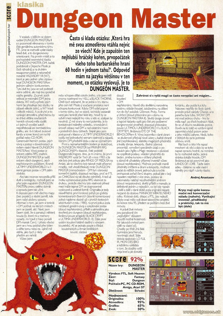 Dungeon Master for PC Review published in Czech magazine 'Score', Issue #14 February 1995, Page 50
