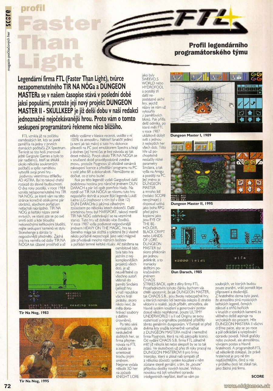 FTL Article published in Czech magazine 'Score', Issue #14 February 1995, Page 72