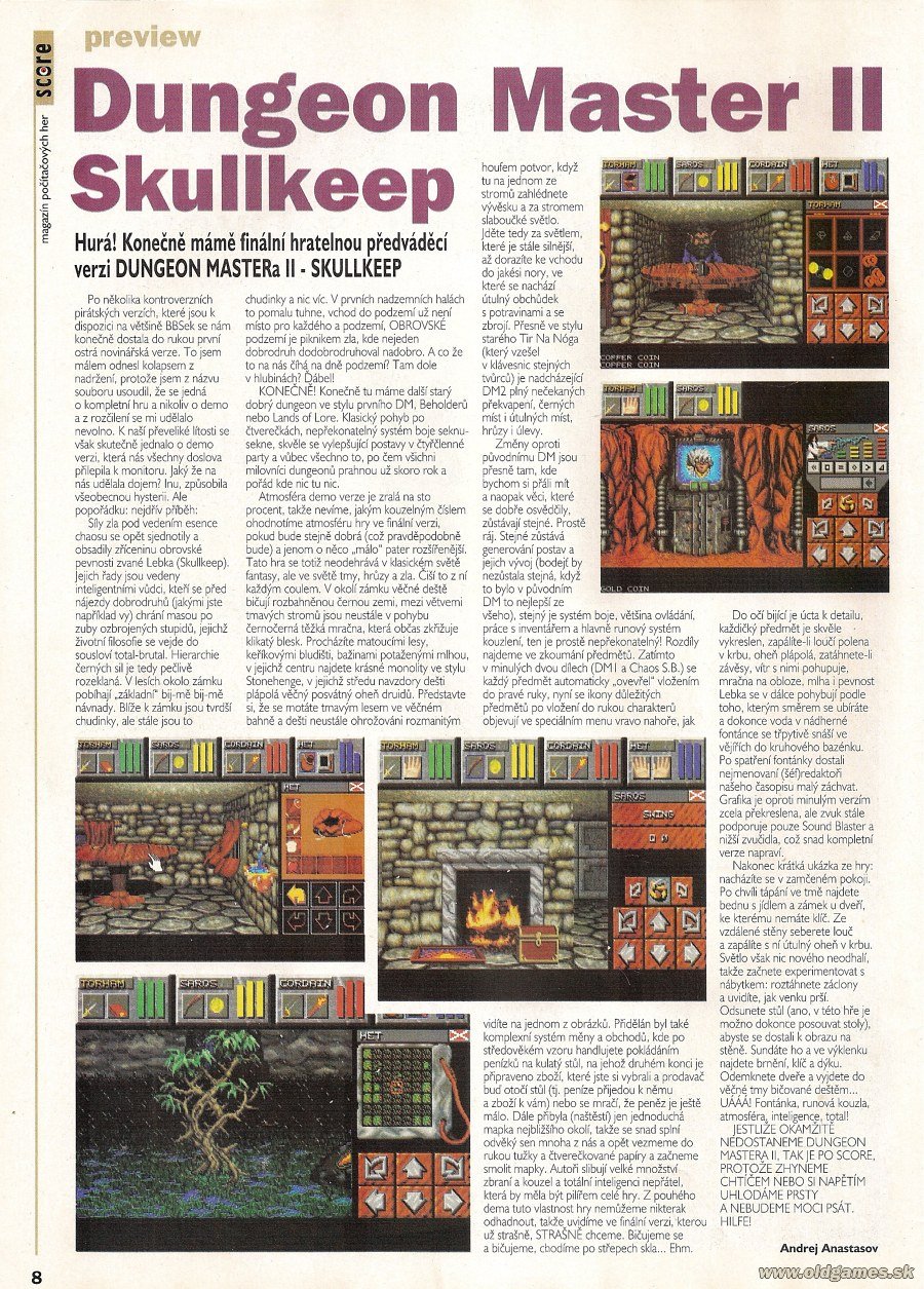 Dungeon Master II for PC Preview published in Czech magazine 'Score', Issue #15 March 1995, Page 8