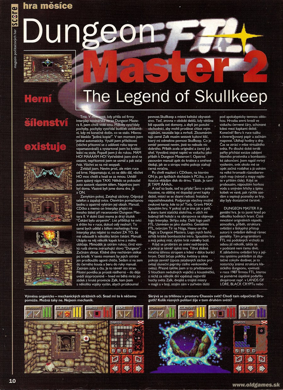 Dungeon Master II for PC Review published in Czech magazine 'Score', Issue #19 July 1995, Page 10