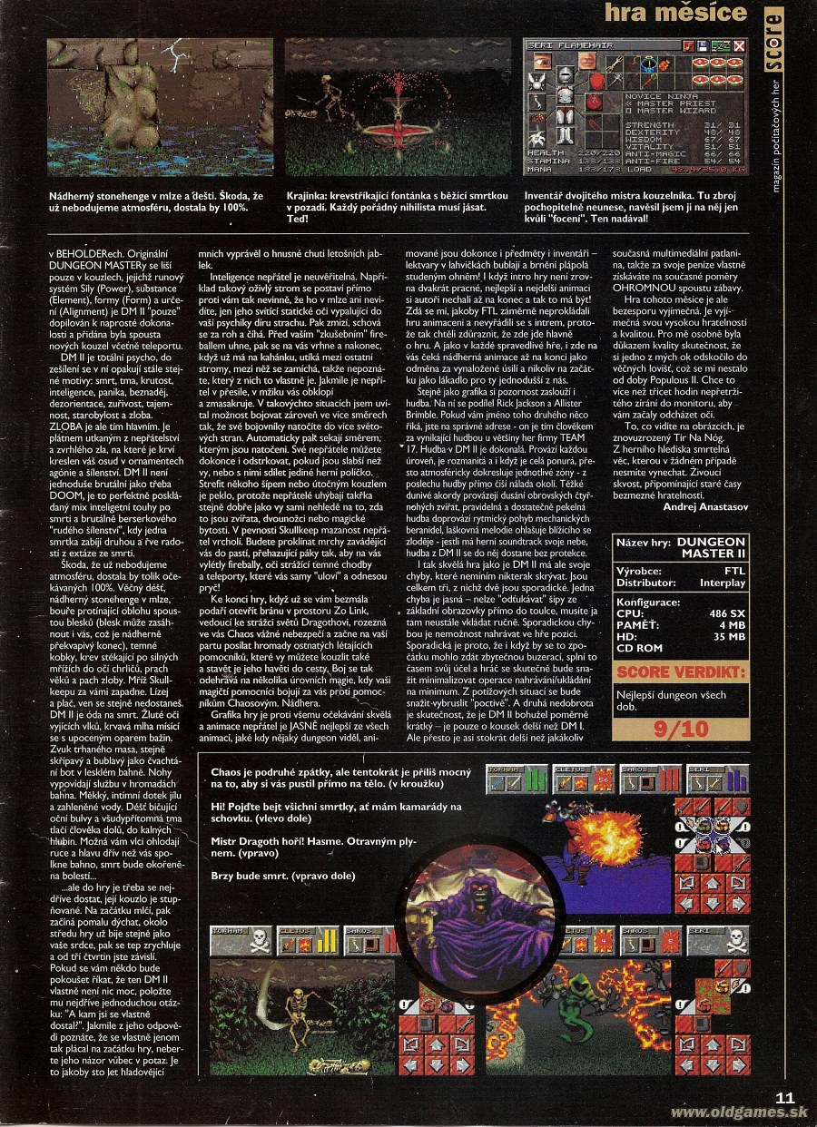 Dungeon Master II for PC Review published in Czech magazine 'Score', Issue #19 July 1995, Page 11