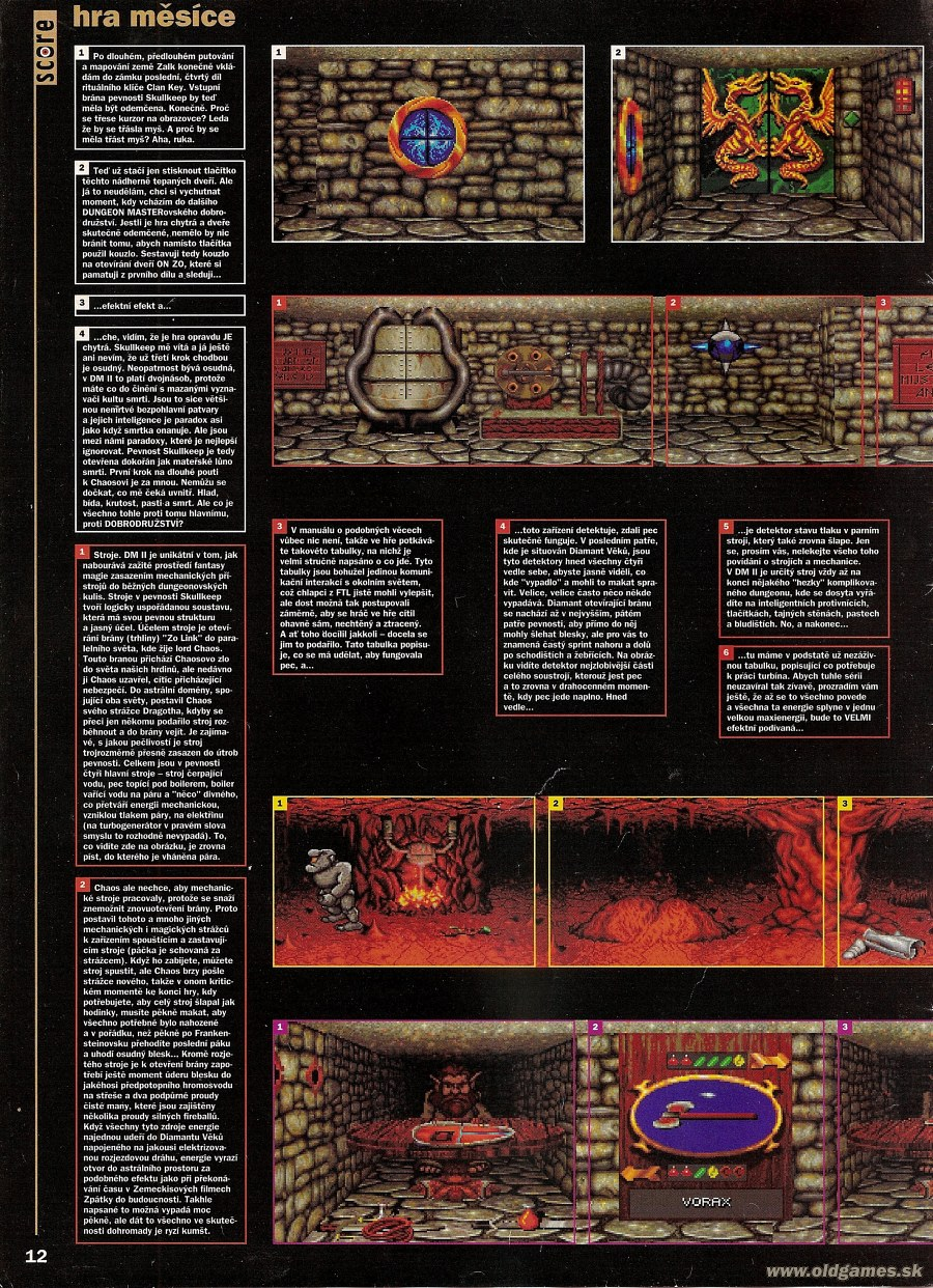 Dungeon Master II for PC Review published in Czech magazine 'Score', Issue #19 July 1995, Page 12