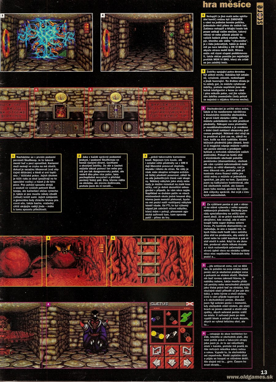 Dungeon Master II for PC Review published in Czech magazine 'Score', Issue #19 July 1995, Page 13