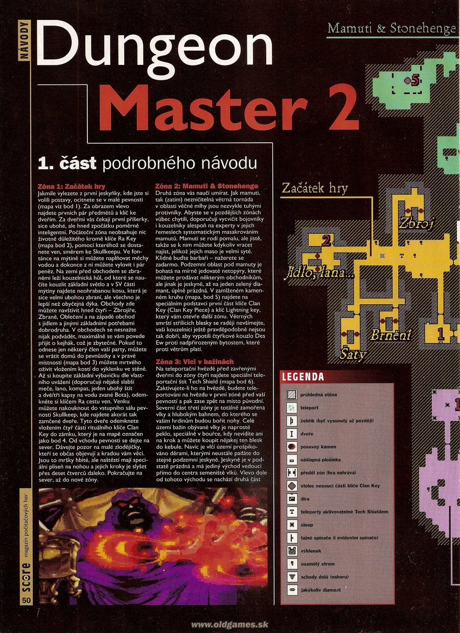 Dungeon Master II for PC Guide published in Czech magazine 'Score', Issue #20 August 1995, Page 50